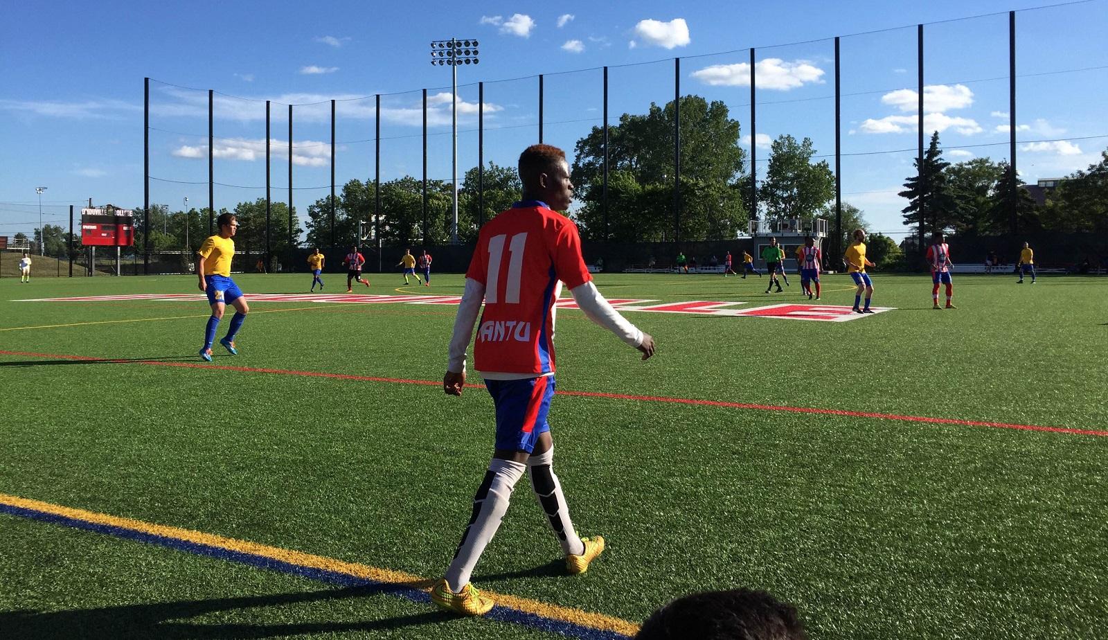 Abdi Sabtow enters the field for Buffalo Bantu on a beautiful Sunday in the BDSL. (Ben Tsujimoto/Buffalo News)