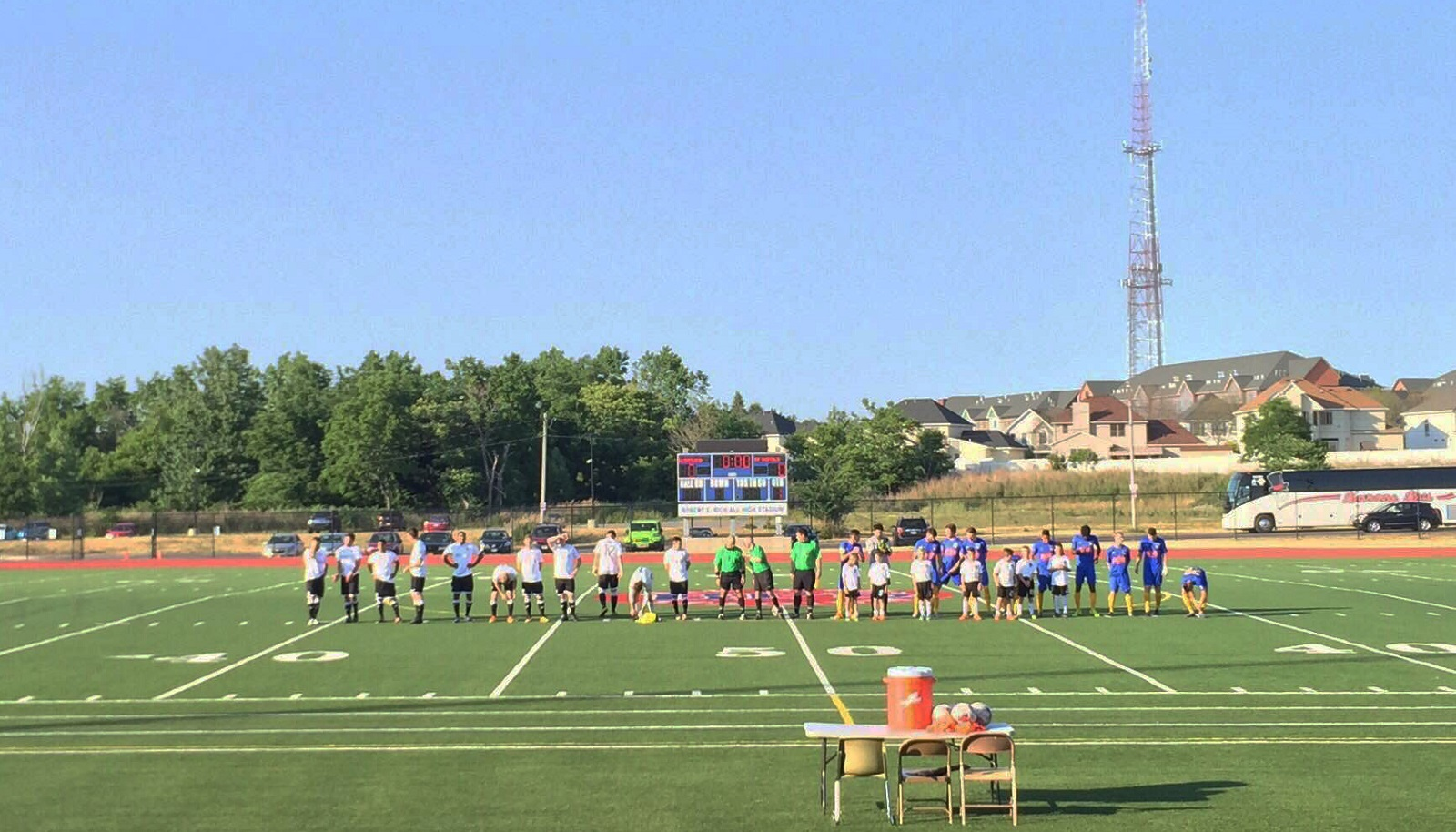 AFC Cleveland and FC Buffalo lineup their starting XIs before Friday's game. (Ben Tsujimoto/Buffalo News)