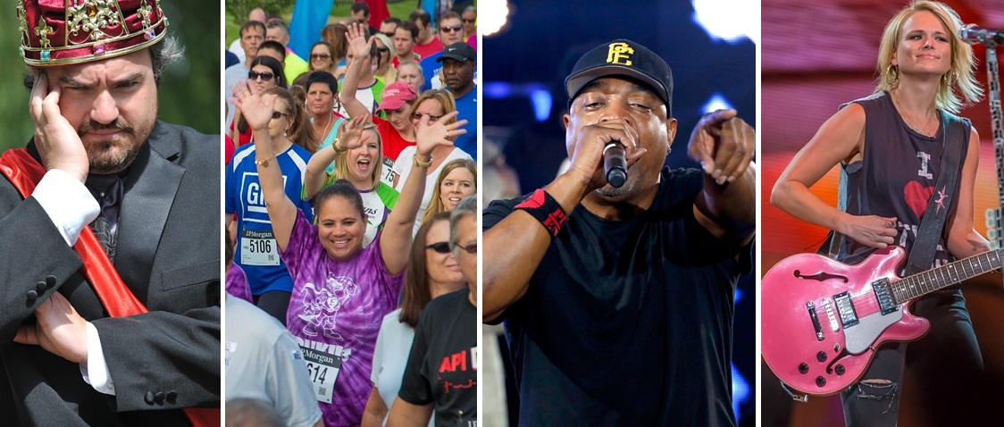 From left: Shakespeare In Delaware Park (via Chris Scinta), the Corporate Challenge (Don Nieman), Public Enemy (Getty Images) and Miranda Lambert (Don Nieman) are all on June 23.