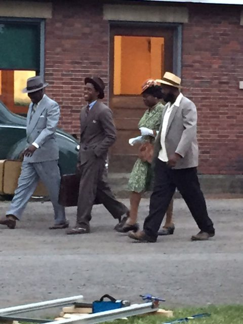 """Some of the cast of """"Marshall"""" filming in Orchard Park."""