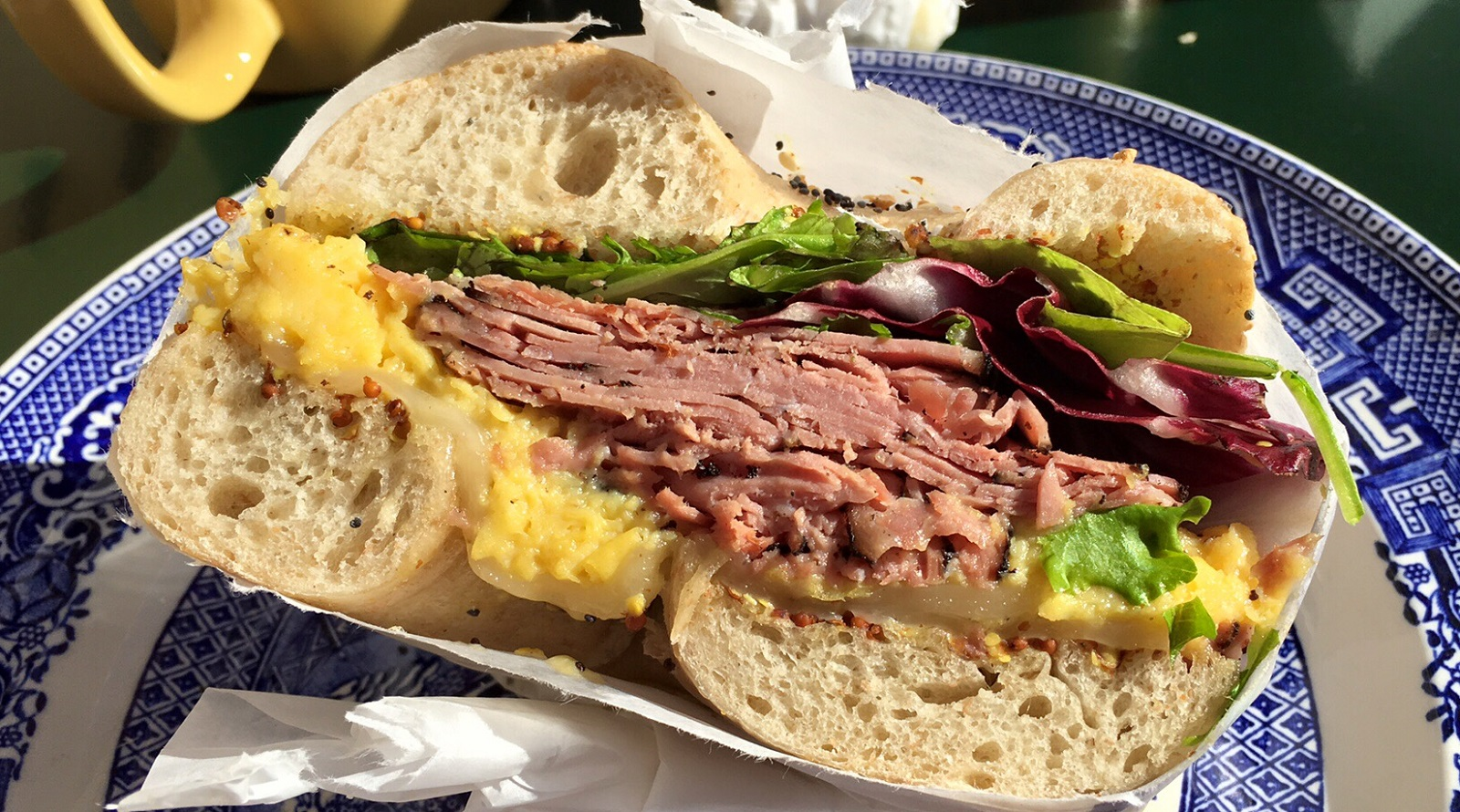 The Courtney ($6) was topped with pastrami, eggs, Swiss cheese, greens and mustard. (Nick Guy/Special to The News)