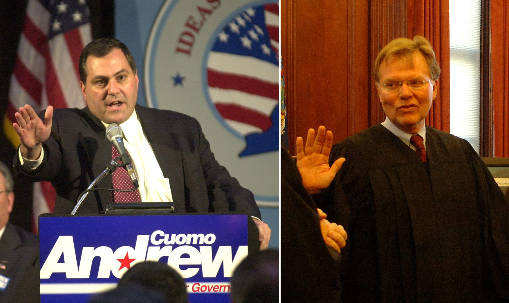 At left, G. Steven Pigeon, and, at right, former State Supreme Court Judge John A. Michalek. (News file photos)
