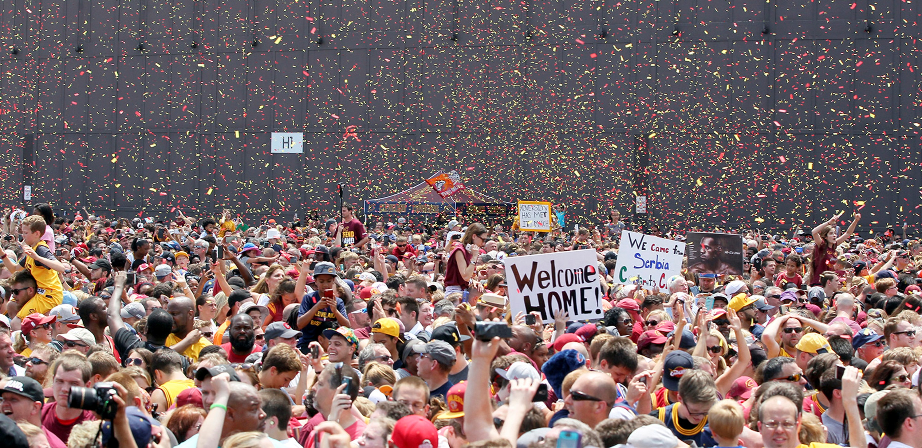 Hundreds of thousands of people gathered today in Cleveland to say farewell to an epic sports curse that has nothing on Buffalo's. (Mike Cardew/Akron Beacon Journal/TNS )