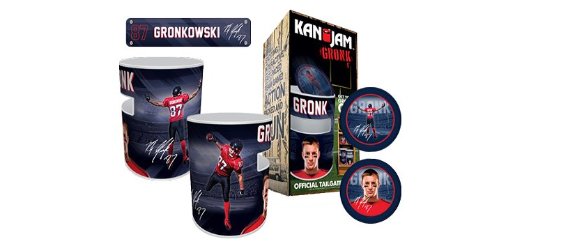 Each set comes with two cans, two discs and a commemorative Gronkowski nameplate (via kanjamgronk.com)