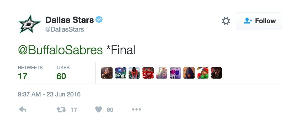 The Dallas Stars just couldn't let a '99 reference go unpunished, could they?