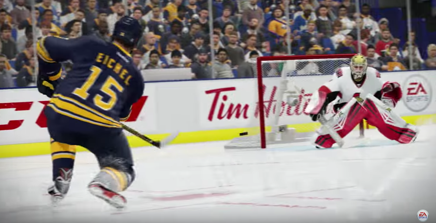The NHL 17 promo shows Jack Eichel scoring on a one-timer. (via YouTube)