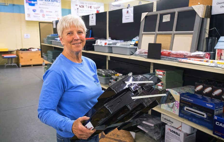 "Volunteers like Betty Pilato keep the Teacher's Desk, a local ""store"" for school supplies, on track. (Michael P. Majewski)"