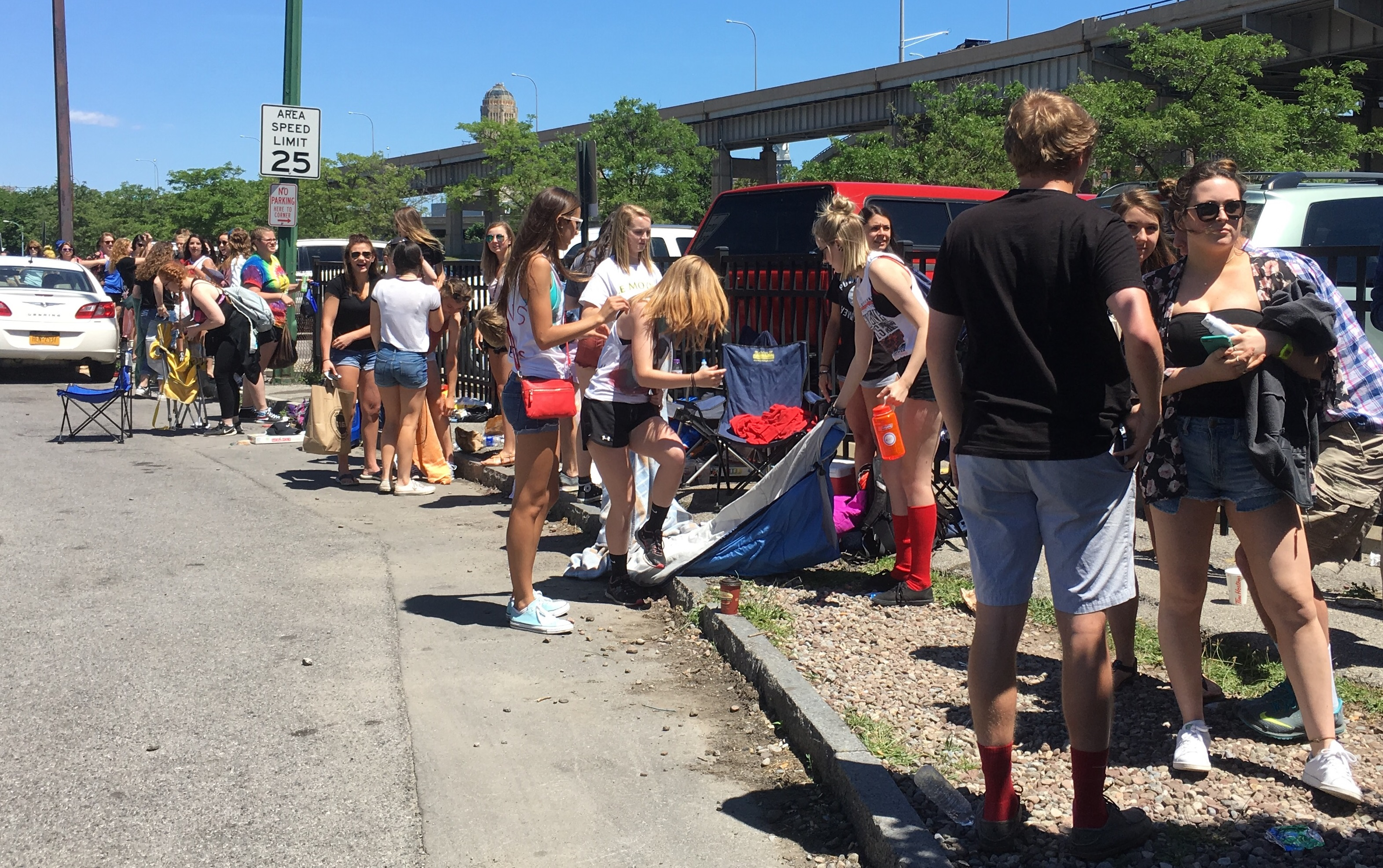 Fans started lining up at 8 a.m. Monday for Tuesday's sold-out Twenty One Pilots concert at Canalside. (Alyssa Fisher/Buffalo News)