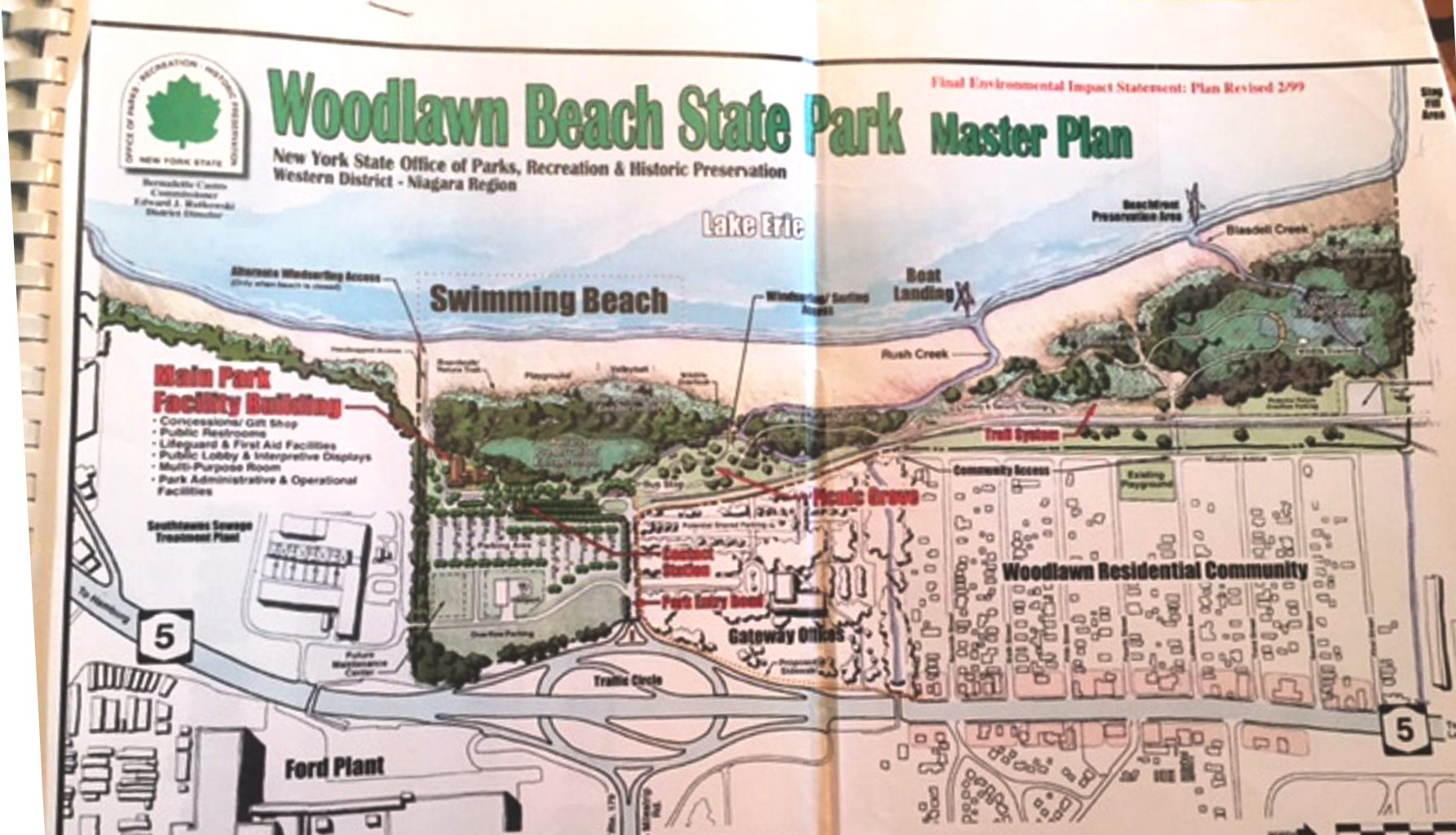 The state's 1999 master plan for Woodlawn Beach.