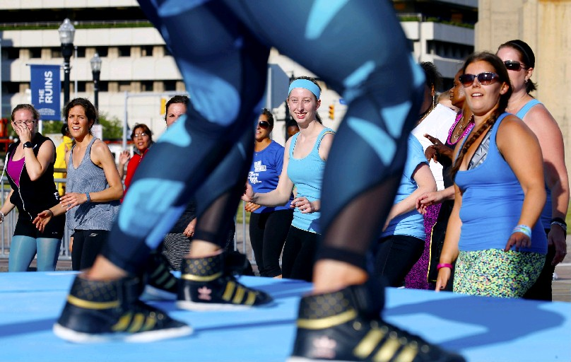 Free Zumba classes take place at Canalside and elsewhere this summer. (Robert Kirkham/Buffalo News file photo)