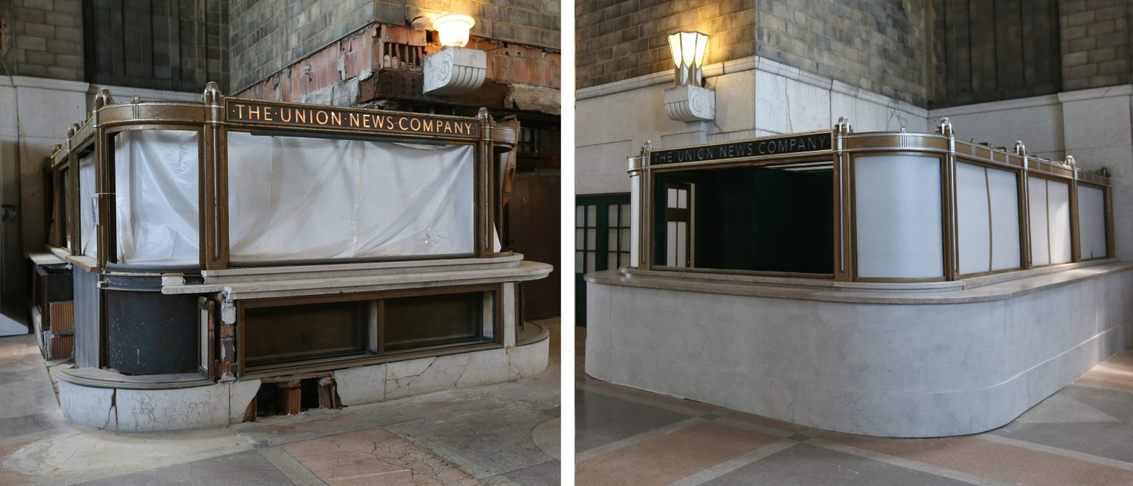 """Old versus new: at left, one the sales counters that hasn't been restored, and, at right, a sales counter given a cosmetic face-lift by the crew of """"Marshall."""" (Sharon Cantillon/Buffalo News)"""