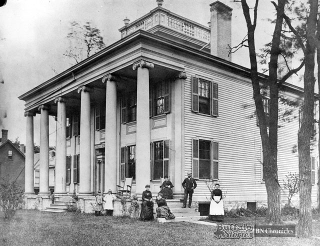 """In 1884, at the corner of Main and High. The home was owned by brewer Charles Gerber, who hosted Grover Cleveland and Mark Twain in the home. Cleveland was said to have visited Gerber frequently to """"drink Mr. Gerber's beer and enjoy the brewer's jolly personality."""" Twain was said to regularly burst through the front door claiming to be a burglar during his time in Buffalo."""