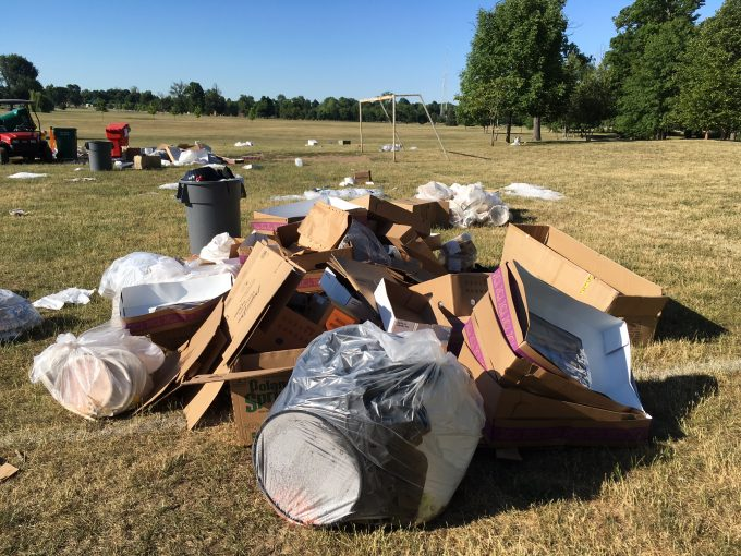 Clean-up continues at Delaware Park morning after the Corporate Challenge