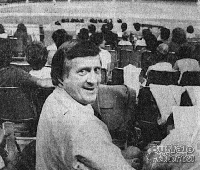 Steinbrenner takes in a Bisons game at the Rockpile, 1979. (Buffalo Stories archives)