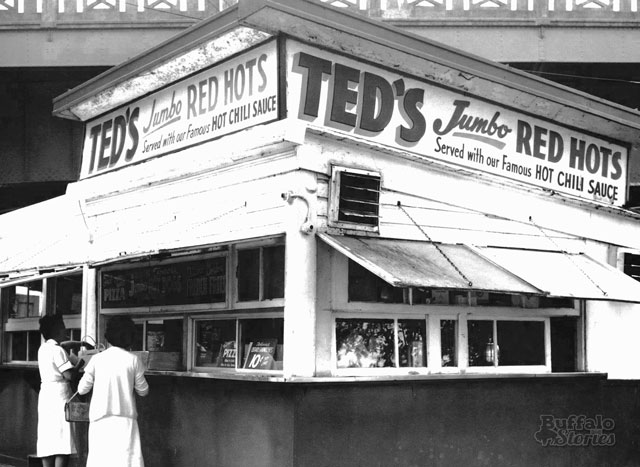 Ted's, with Peace Bridge railing overhead. (Buffalo Stories archives)