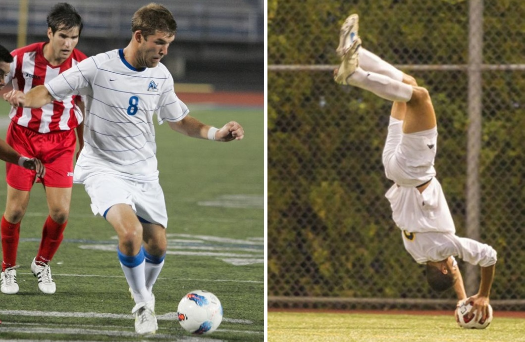 SoHo FC forward Andy Tiedt, center, notched two goals and two assists in a win, while Clarence's Andrew Incho, right, scored for Clarence. (via UB Athletics, Canisius Athletics)