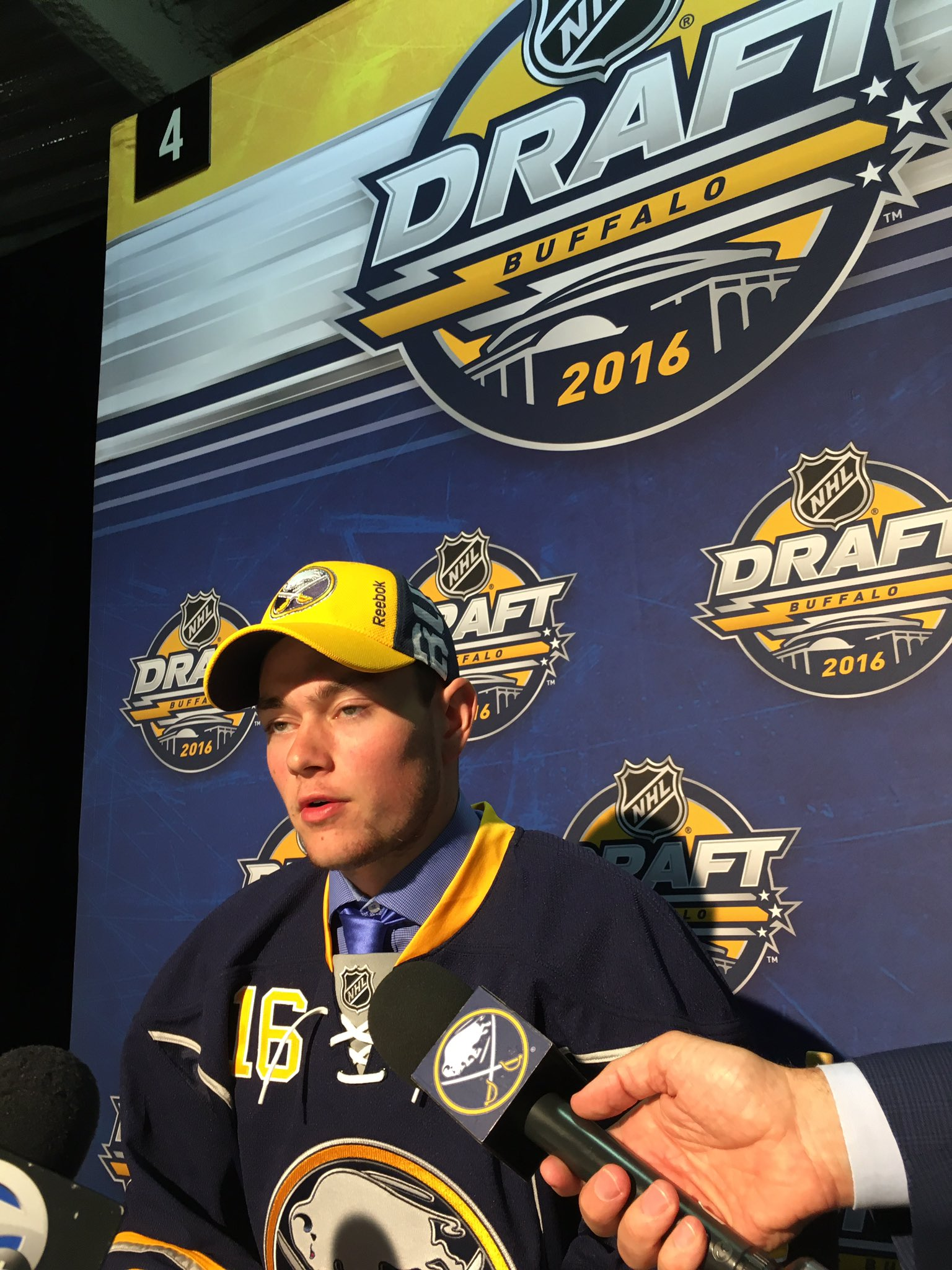 Voiteck Budik, the Sabres pick at No. 130, played along after media thought he was the Sabres' pick at 129, Philip Nyberg. (Harry Scull Jr./Buffalo News)