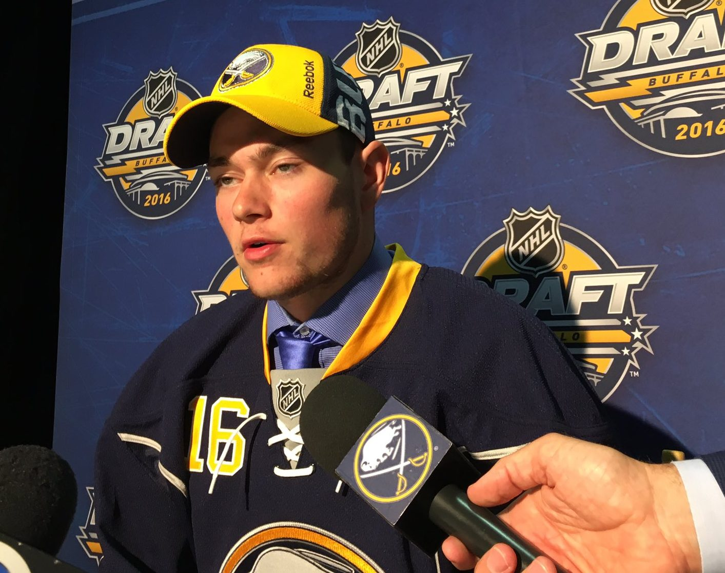 Voiteck Budik, the Sabres pick at No. 130 in the fifth round, answers questions from the media. Harry Scull Jr./Buffalo News