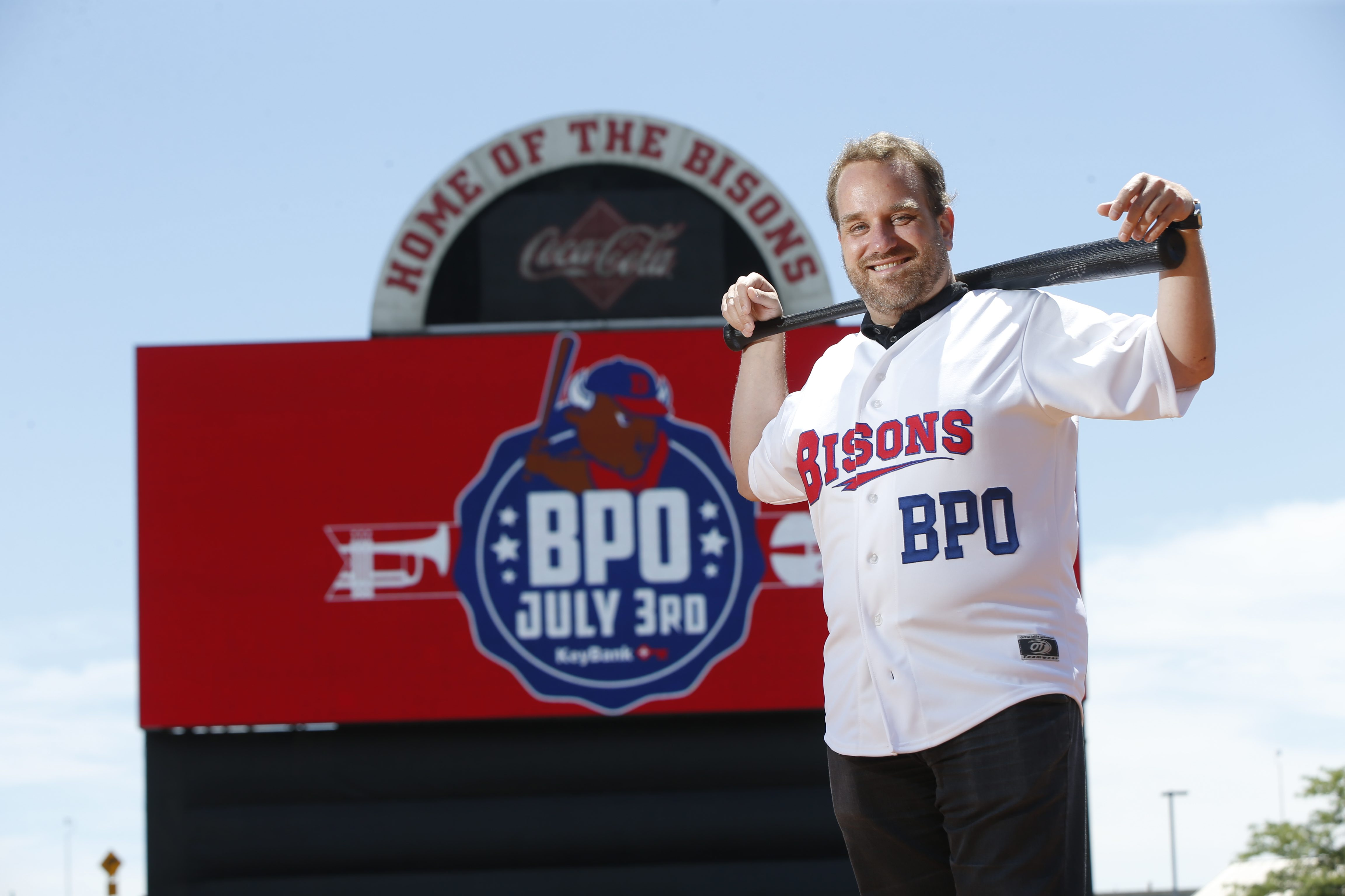 The Buffalo Philharmonic Orchestra's Stefan Sanders at Coca-Cola Field. (Harry Scull Jr./Buffalo News)