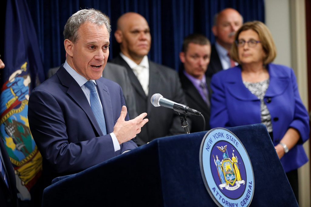 State Attorney General Eric Schneiderman holds a press conference to announce prosecutions against political operative G. Steven Pigeon and former State Supreme Court Justice John Michalek, Thursday, June 30, 2016.  (Derek Gee/Buffalo News)
