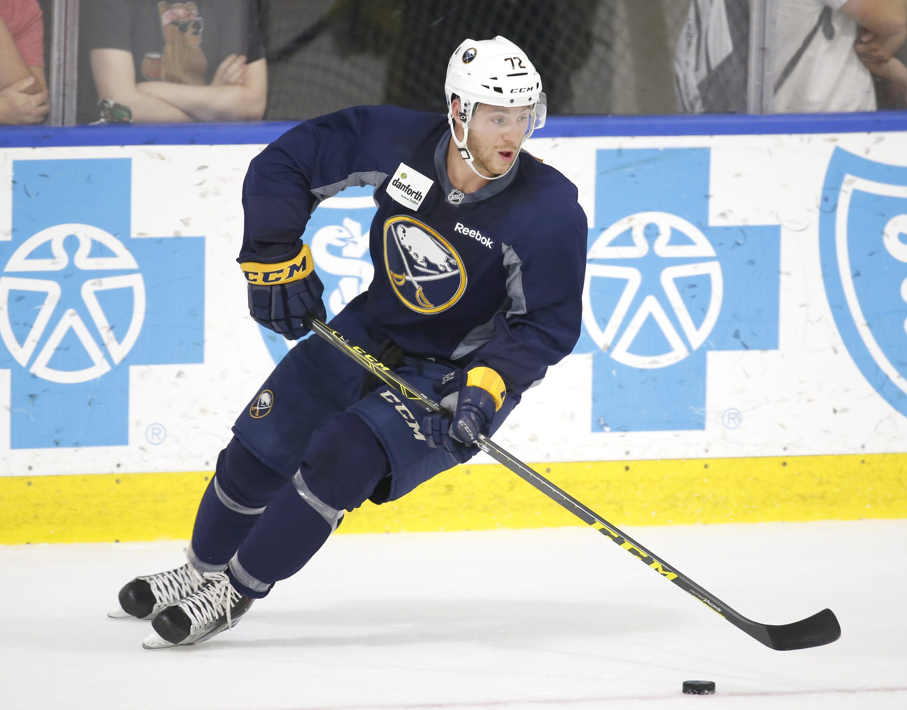 Buffalo Sabres prospect Jean Dupuy works with the puck during the opening day of the Buffalo Sabres' 2016 development camp at HarborCenter. (Harry Scull Jr./Buffalo News)