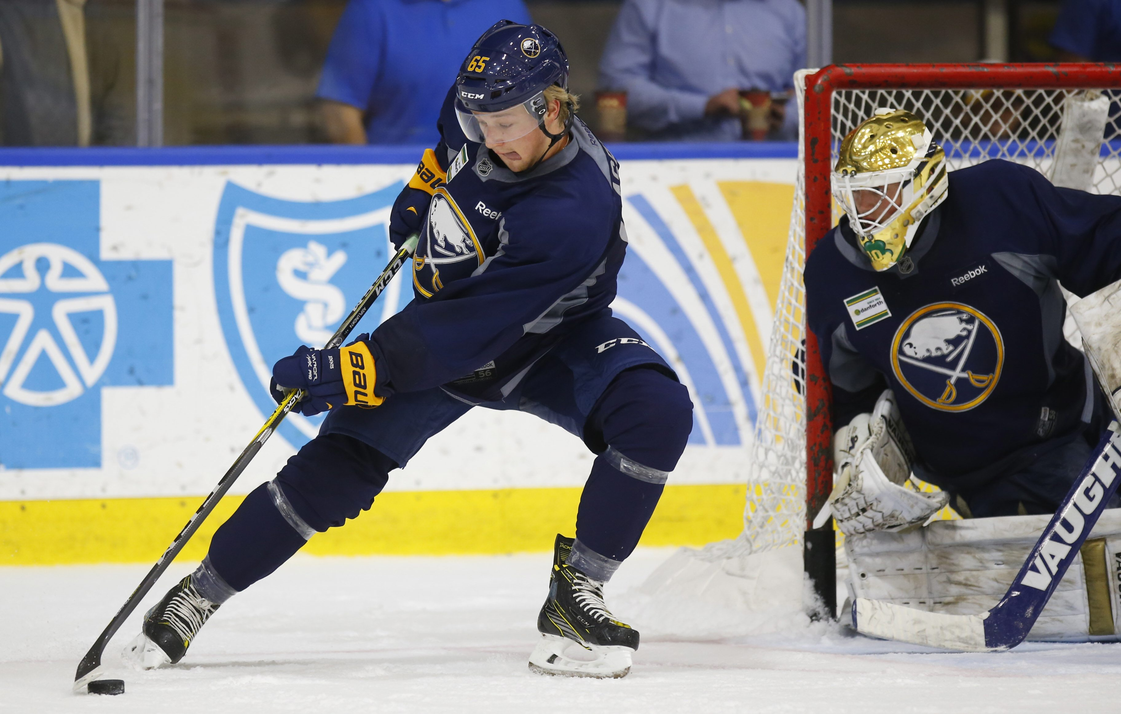 Buffalo Sabres prospect Rasmus Asplund skates with the puck during the team's 2016 development camp. (Harry Scull Jr./Buffalo News)