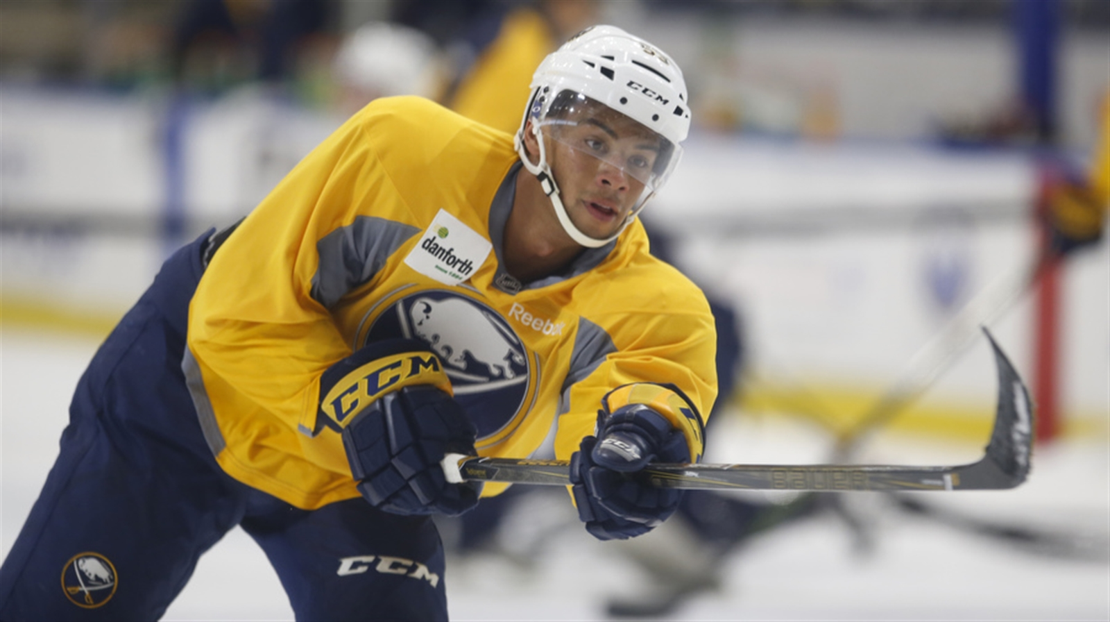 Devante Stephens during Tuesday's first session of Sabres development camp at HarborCenter. (Harry Scull Jr./Buffalo News)