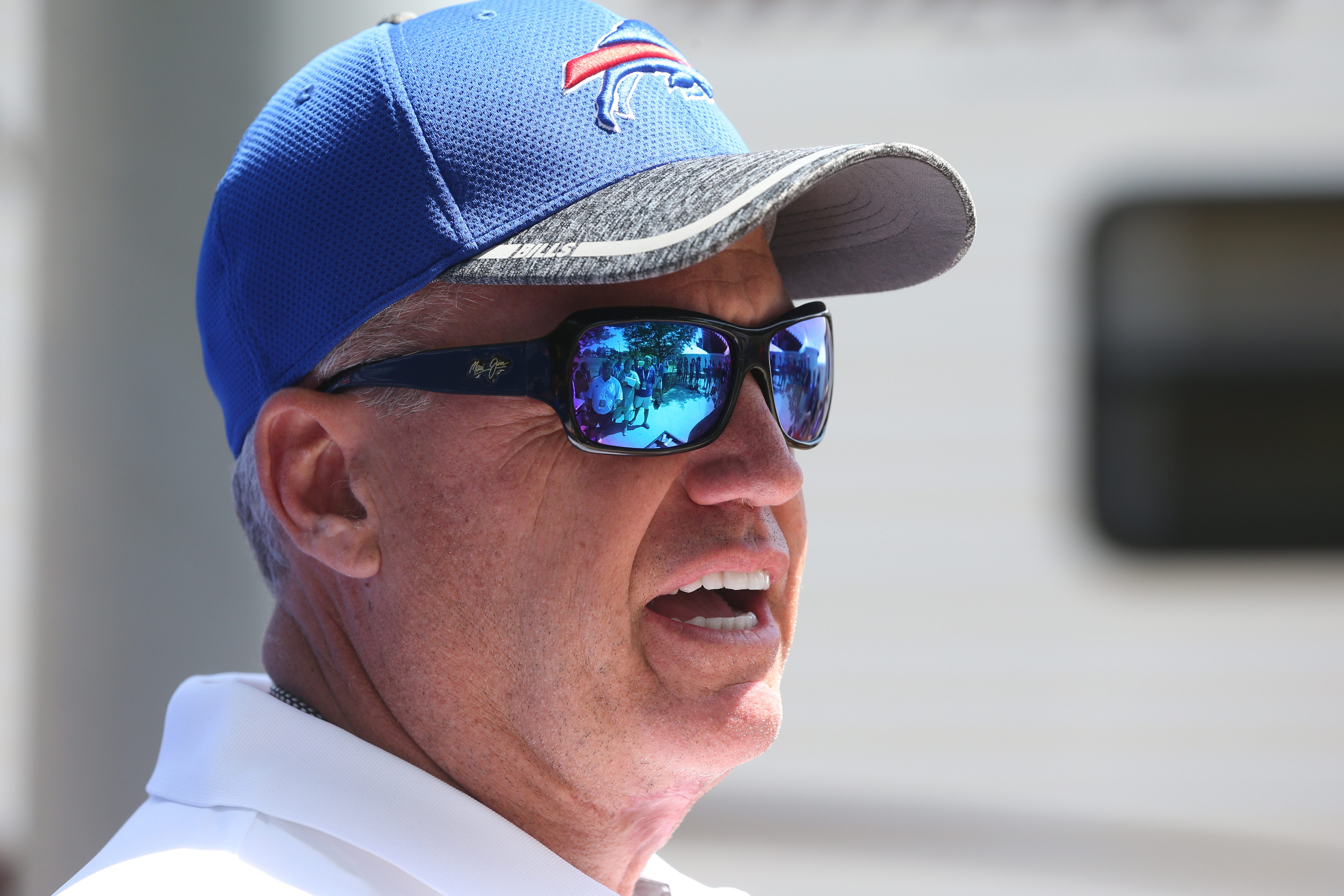 Buffalo Bills head coach Rex Ryan talks to the press at the start of 2016 training camp at St. John Fisher College.  (James P. McCoy/ Buffalo News)