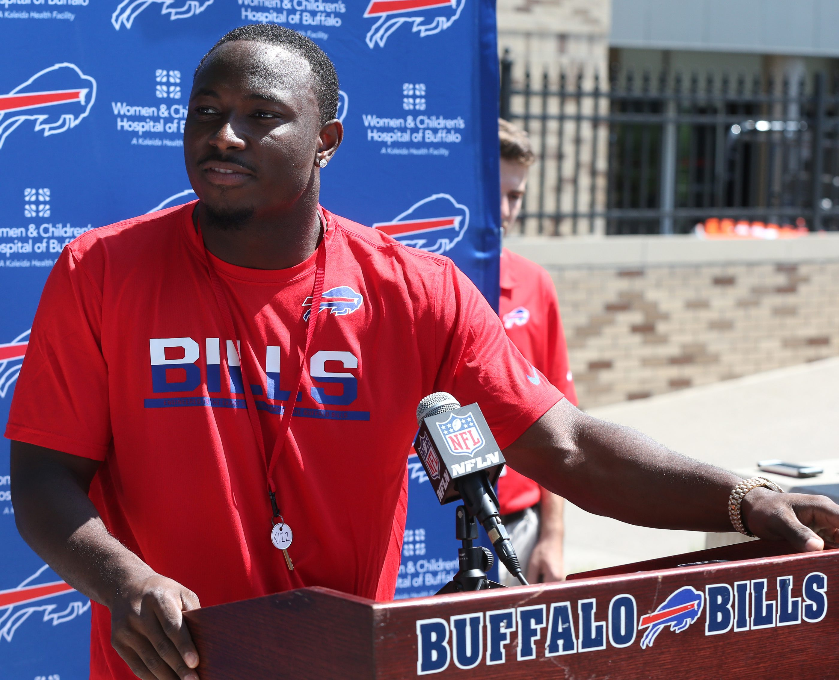 Buffalo Bills running back LeSean McCoy (25) talks to the press at St. John Fisher College as players reported for the team's 2016 camp on Friday.  (James P. McCoy/ Buffalo News)