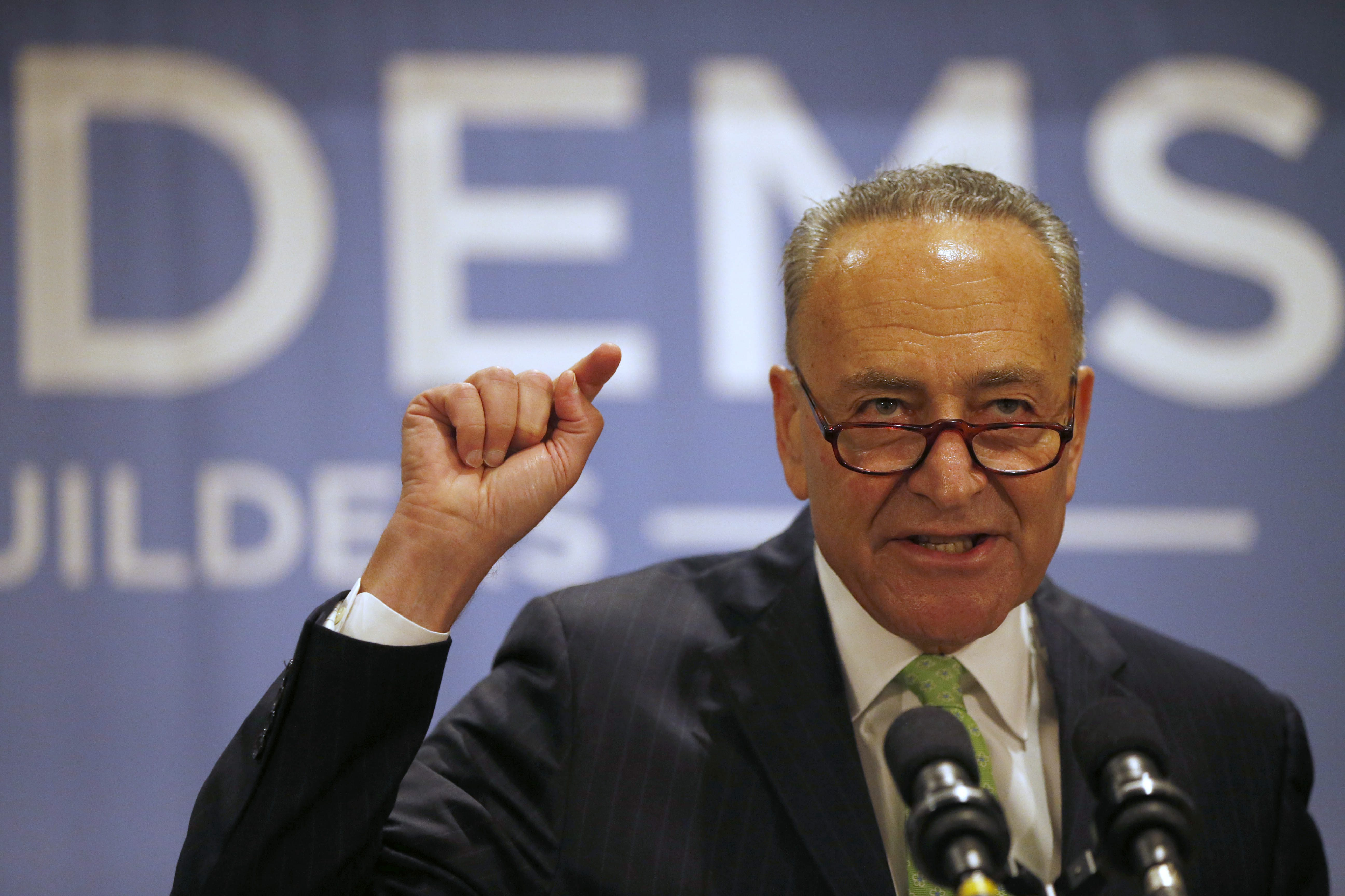 Sen. Charles Schumer speaks during the New York Democrat breakfast at the Loews Hotel in Philadelphia, Wednesday, July 27, 2016. (Derek Gee/Buffalo News)