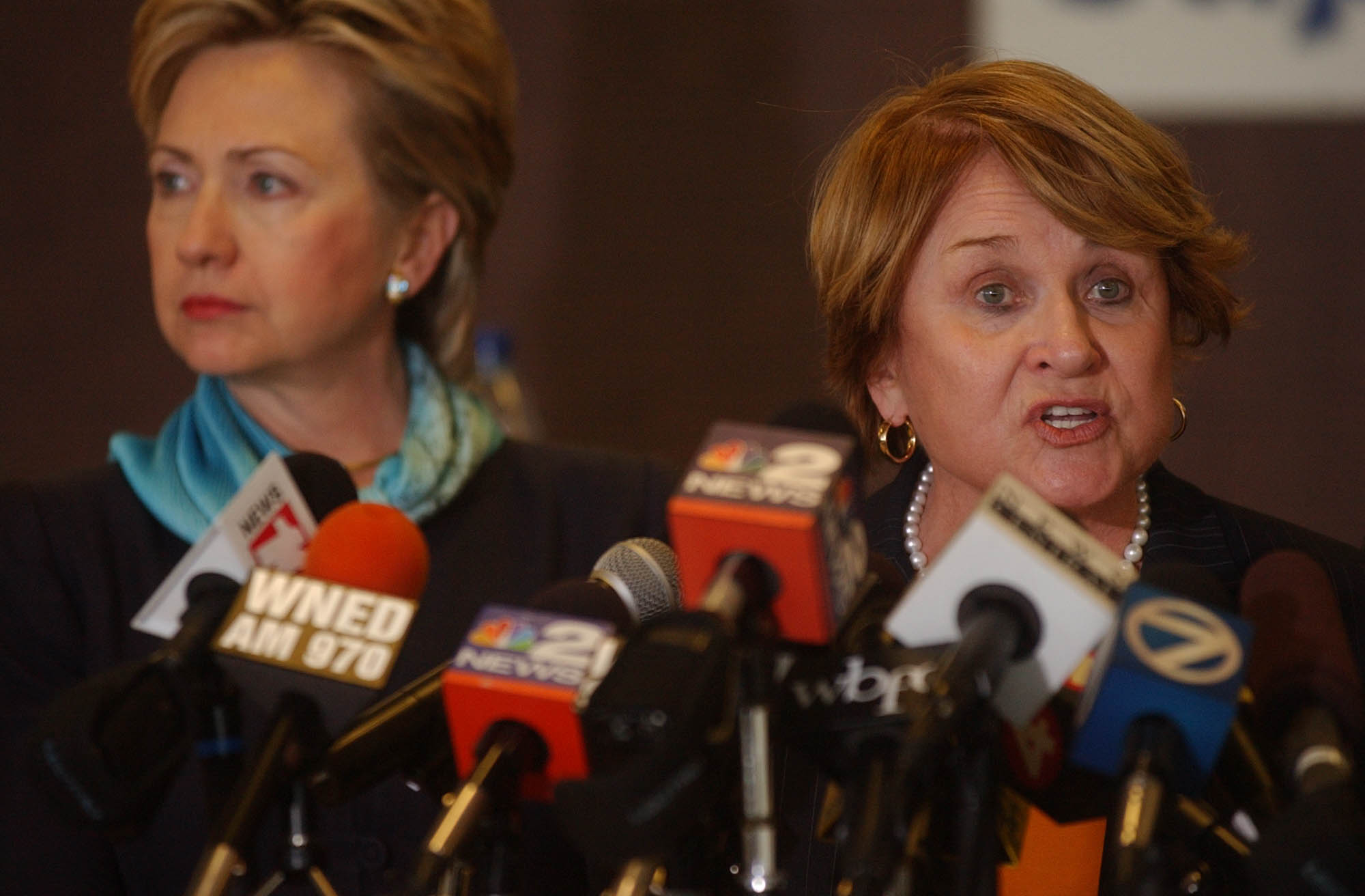 Congressman Louise Slaughter speaks during a press conference at the Niagara Falls International Airport with former Senator Hillary Clinton in 2005. (News file photo)