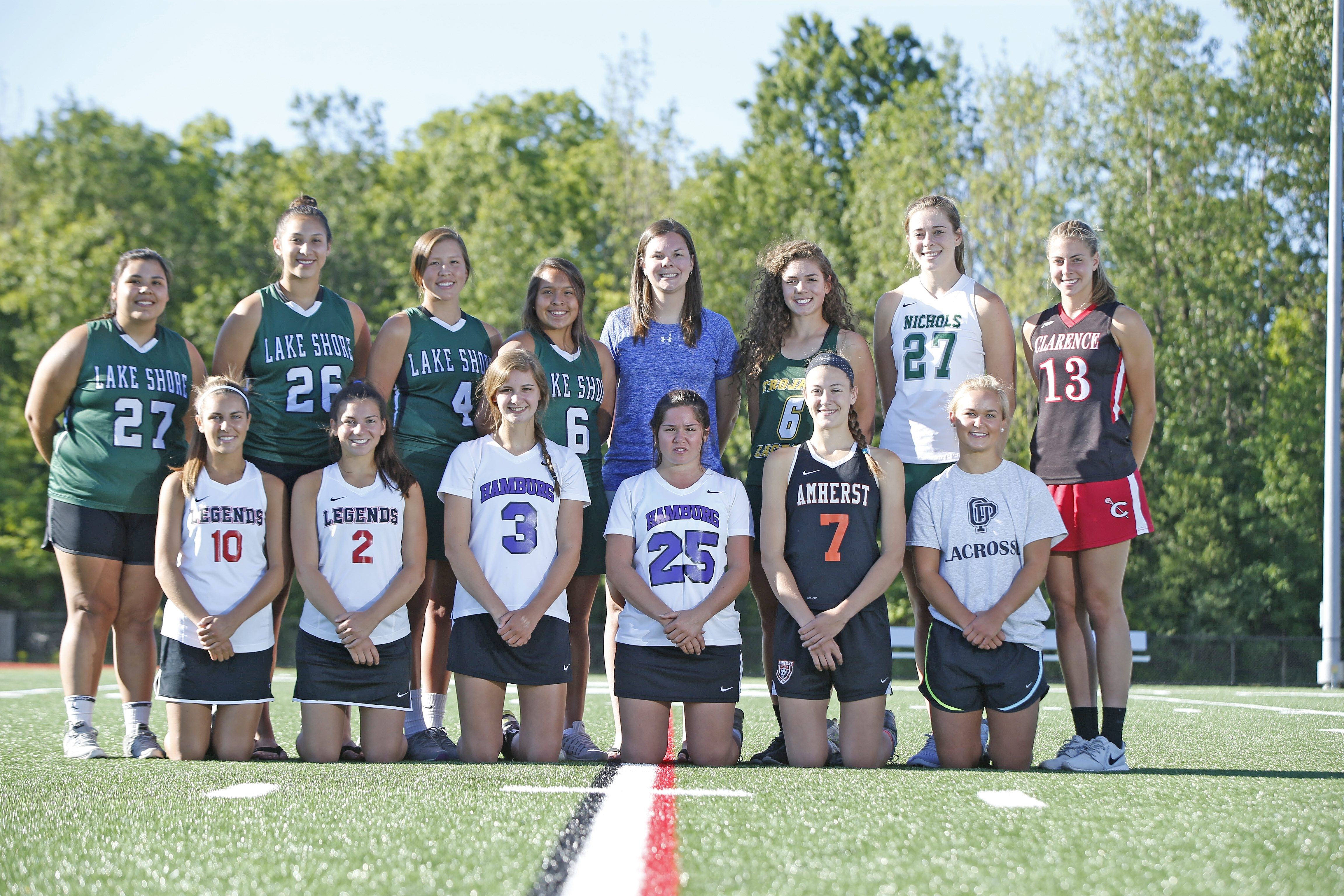The All-WNY Girls Lacrosse Team, front row, from left: Riley Lucarelli, Lancaster; Anna Orlando, Lancaster; Claire Herrmann, Hamburg; Rebecca Izzo, Hamburg; McKenna Rushford, Amherst; Grace Ruh, Orchard Park; back row: Jenna Haring, Lake Shore; Shayla Scanlan, Lake Shore; Jalyn Jimerson, Lake Shore; Ivy Santana, Lake Shore; Jennifer Shalke, Grand Island, Coach of the Year; Laura Skrzypczyk, West Seneca East; Lindsay Hogan, Nichols; Sydney Cerza, Clarence. Not pictured: Lexi Rockey, Frontier.