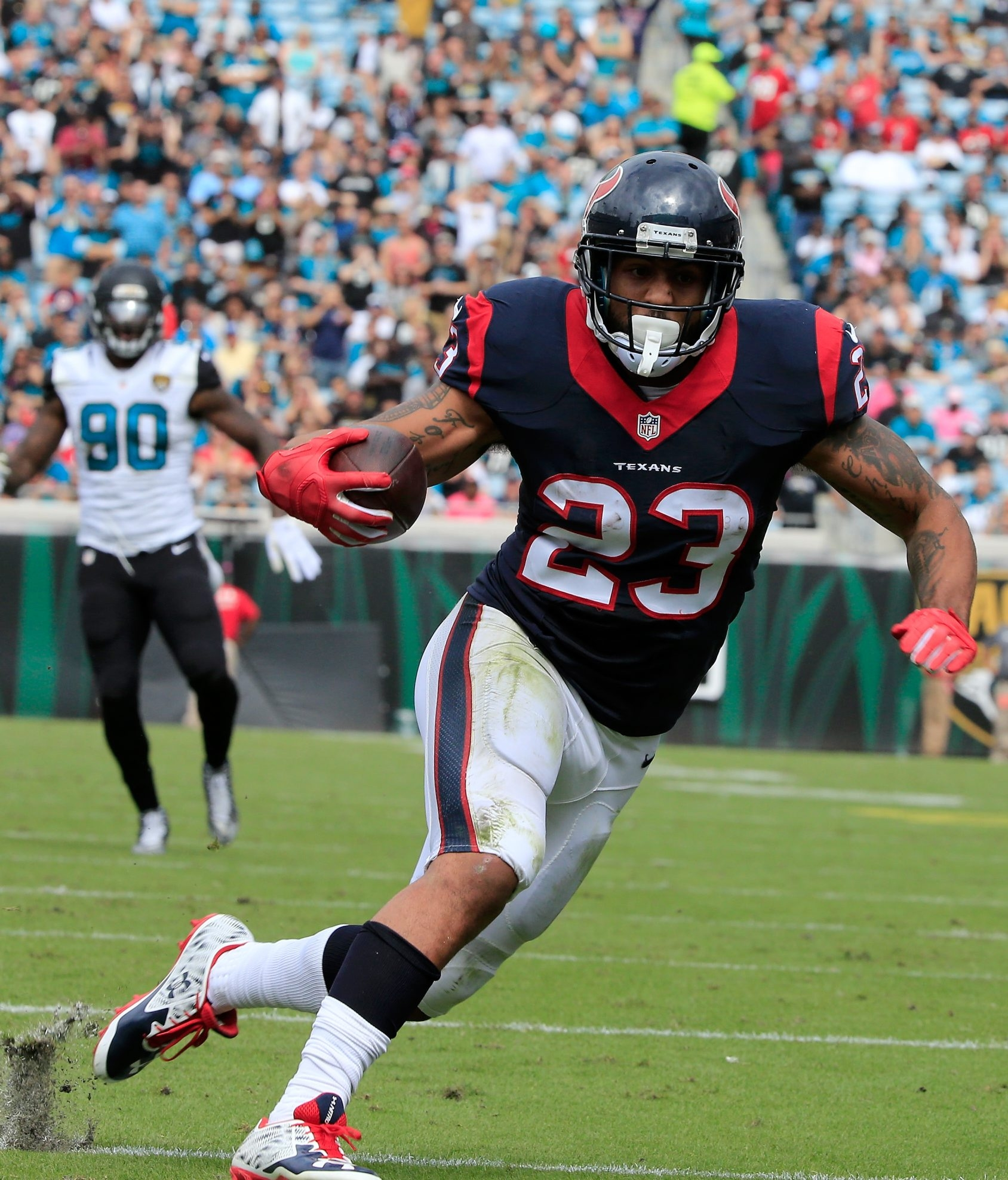 Arian Foster. a former member of the Houston Texans, might be able to help the Bills' depth at running back.