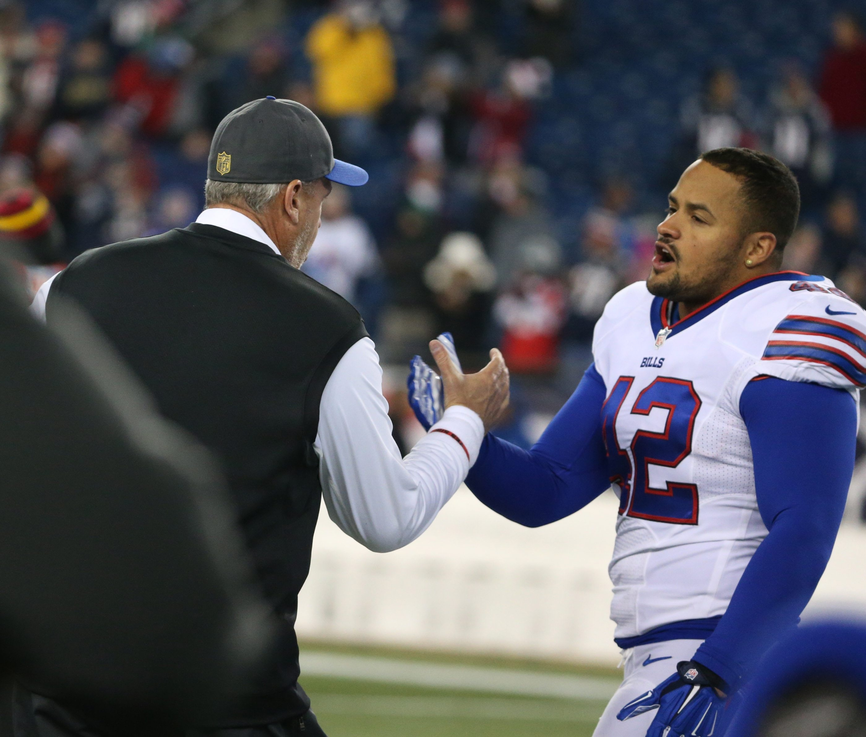 Bills fullback Jerome Felton, being greeted by coach Rex Ryan, had a disappointing first season with the Bills and will face competition for his job from Glenn Gronkowski. (James P. McCoy/ Buffalo News file photo)