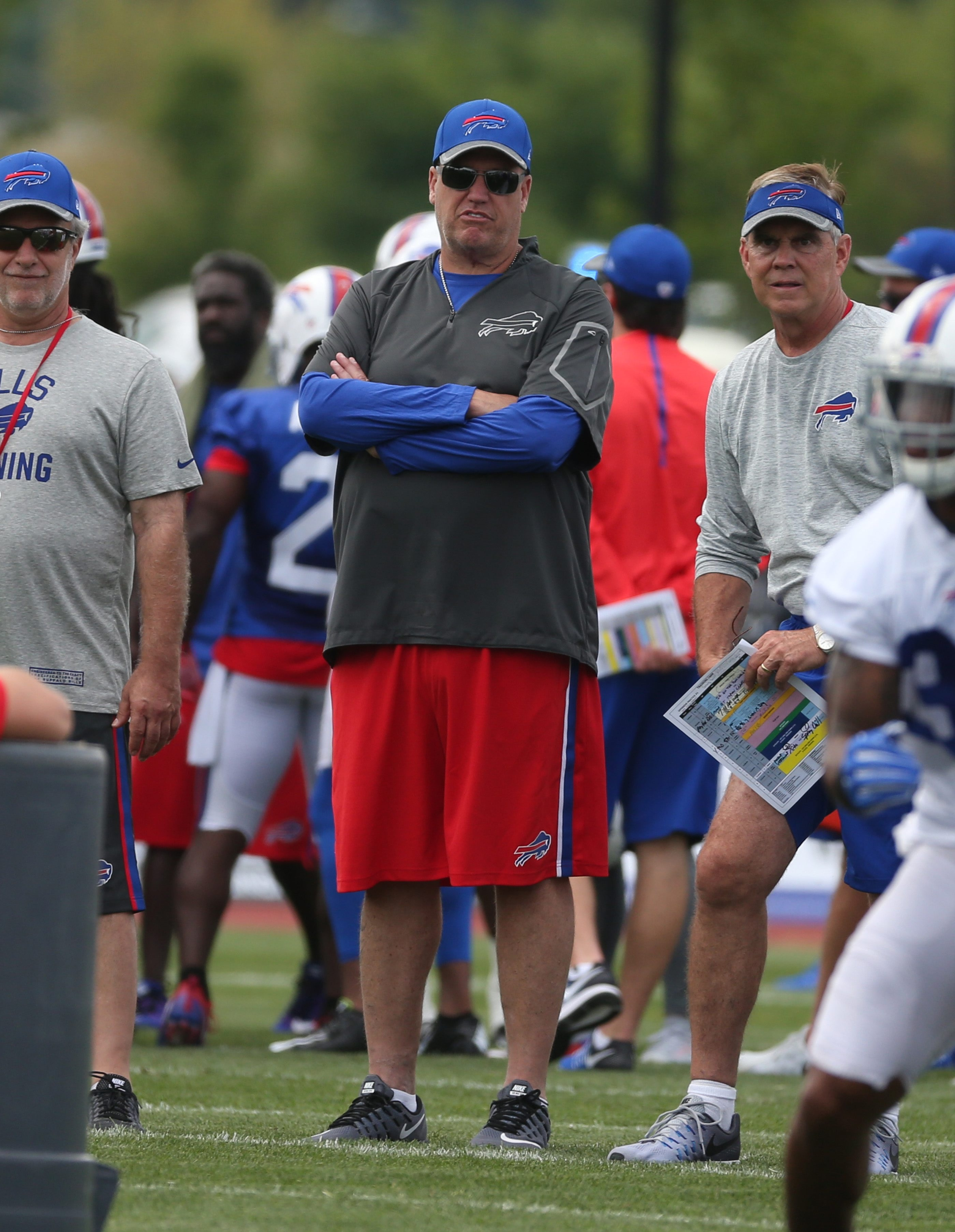 Buffalo Bills head coach Rex Ryan looks over his team  during the second day of training camp at St. John Fisher College in Pittsford,NY on Sunday, July 31, 2016.  (James P. McCoy/ Buffalo News)