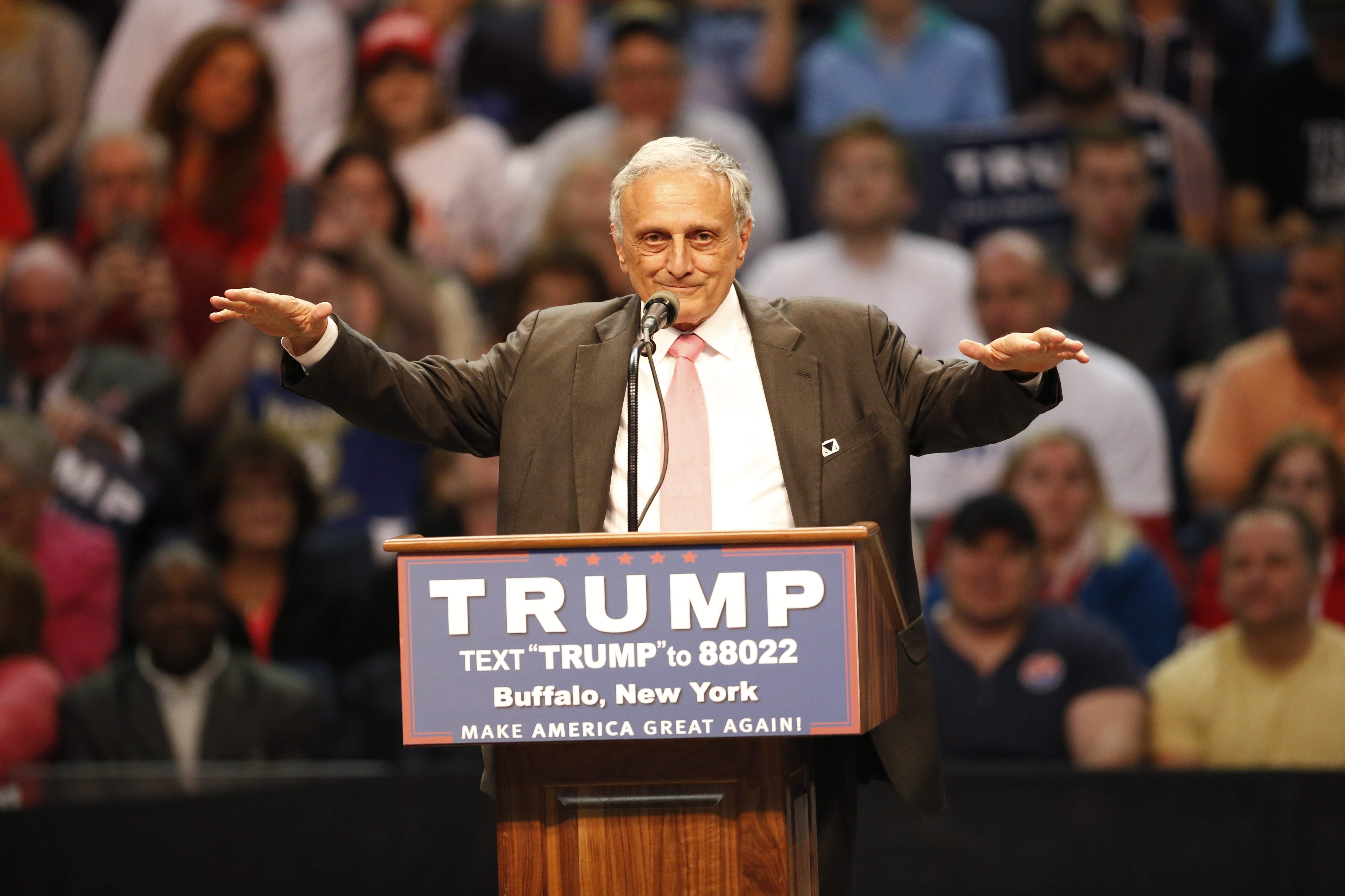 Carl Paladino speaks during the Trump rally at First Niagara Center in Buffalo, N.Y.  Monday, April 18, 2016.  (Derek Gee/Buffalo News)
