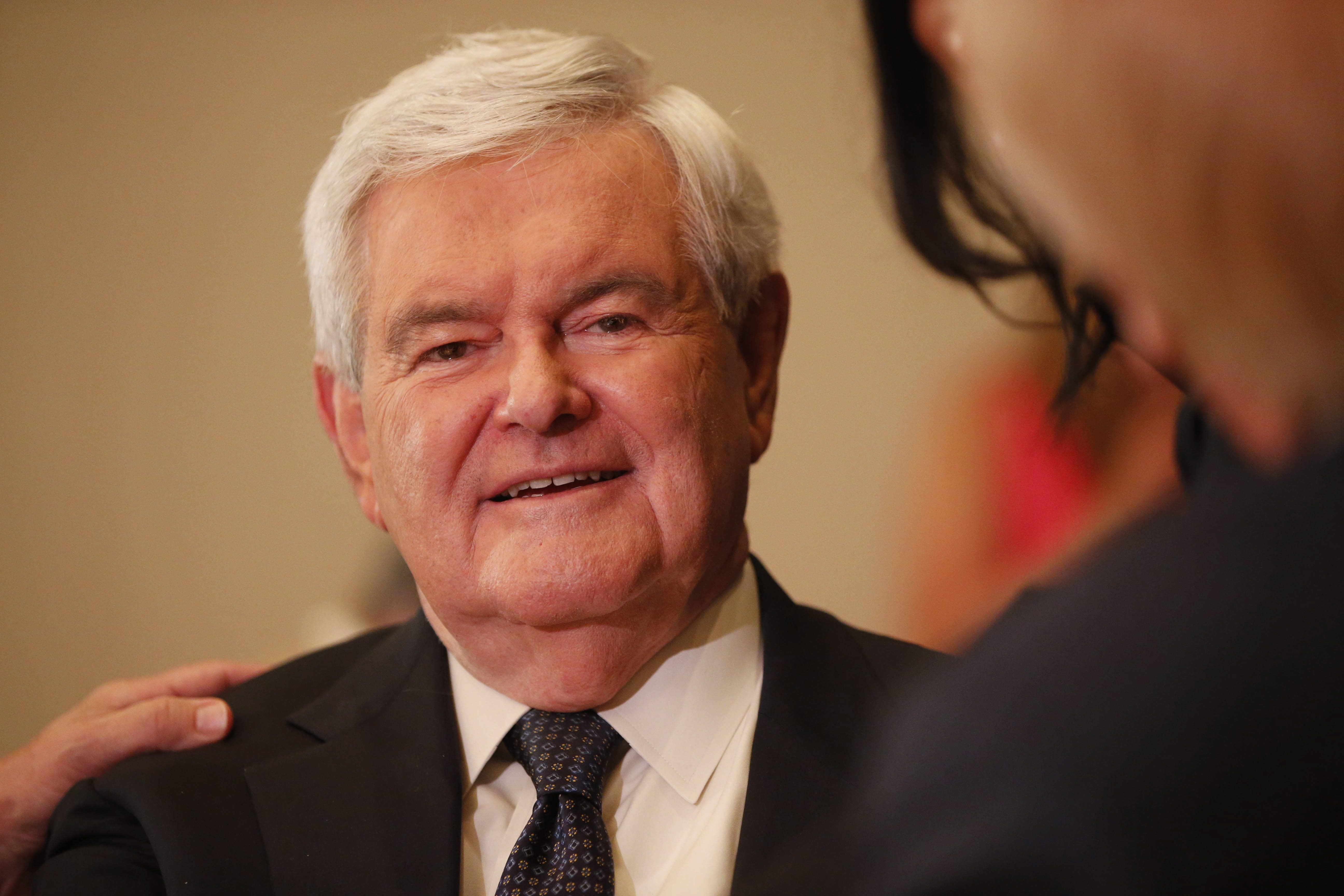 Former House Speaker Newt Gingrich mingles during the New York delegation breakfast at the Renaissance Hotel in Cleveland on July 18. (Derek Gee/Buffalo News)
