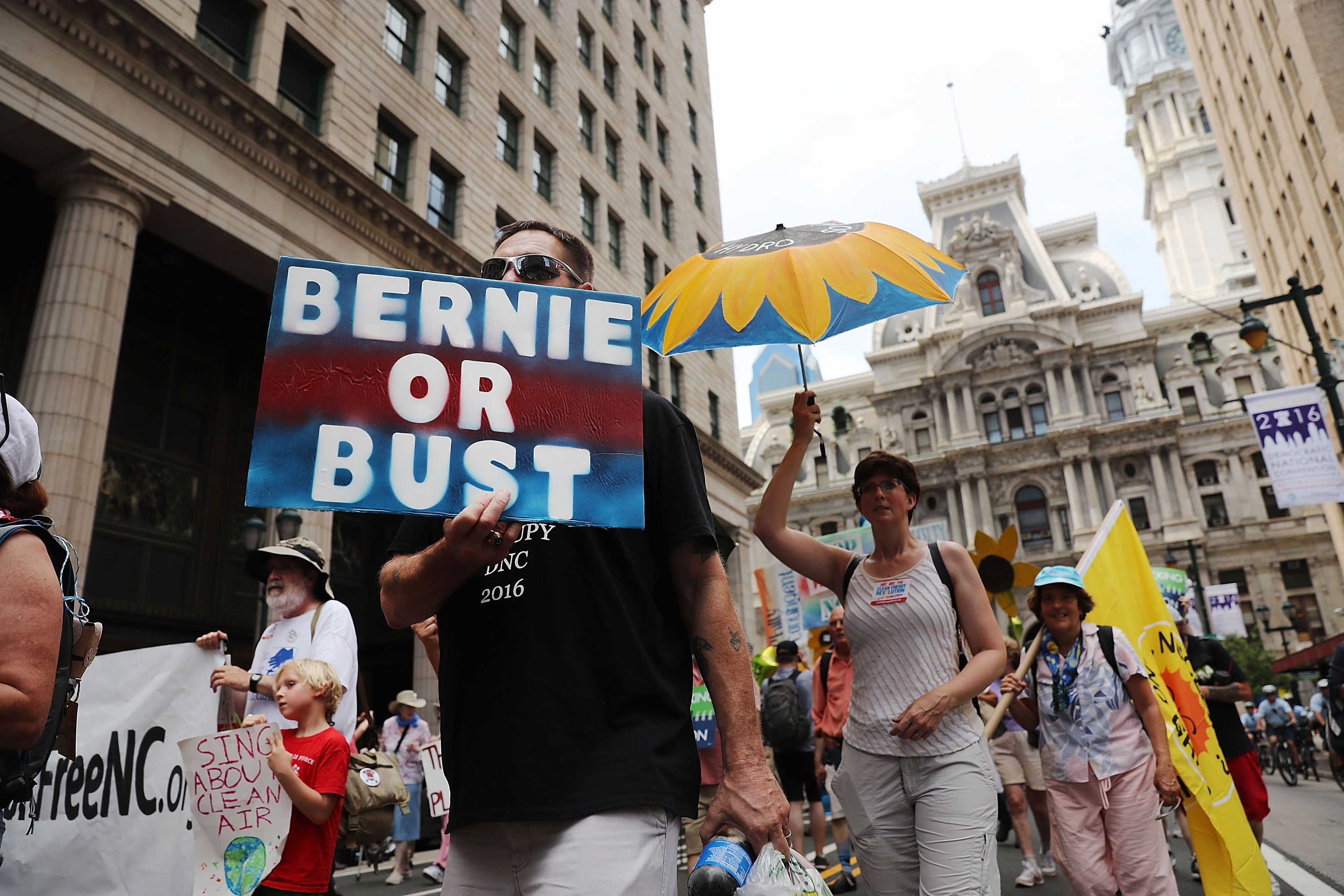 Hundreds of environmentalists and Bernie Sanders supporters march through downtown Philadelphia as the city gears up for the Democratic National Convention. (Spencer Platt/Getty Images)