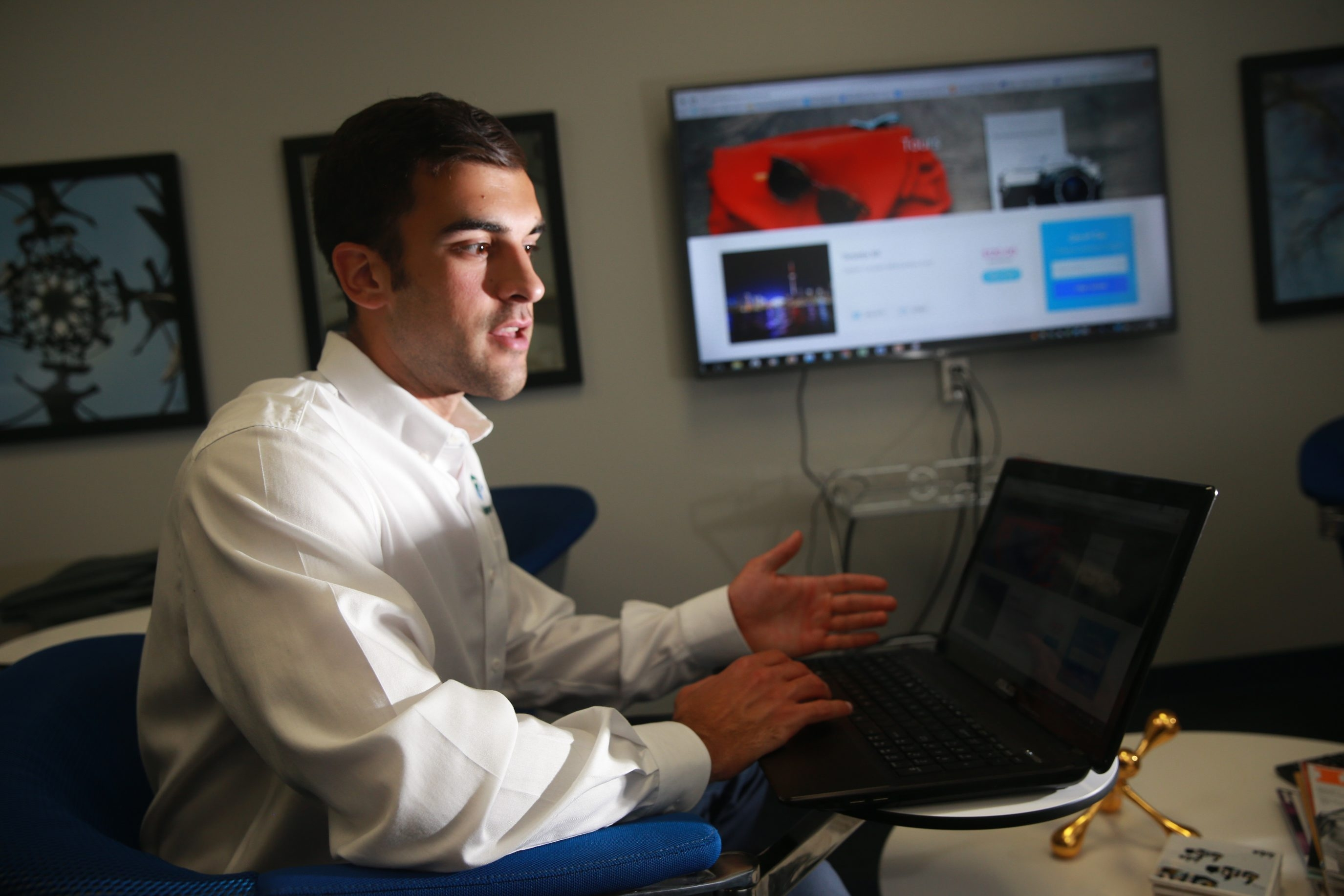 Matt Daddario, a Daemen College accounting graduate student, founded a company called Triploma, he ran it from his parents' home since March,  but won admission to the Buffalo Student Sandbox business development program this summer and is now located at the Sandbox incubator on UB North Campus in Amherst, N.Y.,on Wednesday July 13, 2016.Daddario  provides guided tours to college-age travelers to cities that are within driving distance of Buffalo, the company handles all the planning, arranging transportation, figuring out which hostels to stay in, where to eat (inexpensively) and what attractions to see, they've done one trip and second one, to Toronto, is this weekend.  (John Hickey/Buffalo News)
