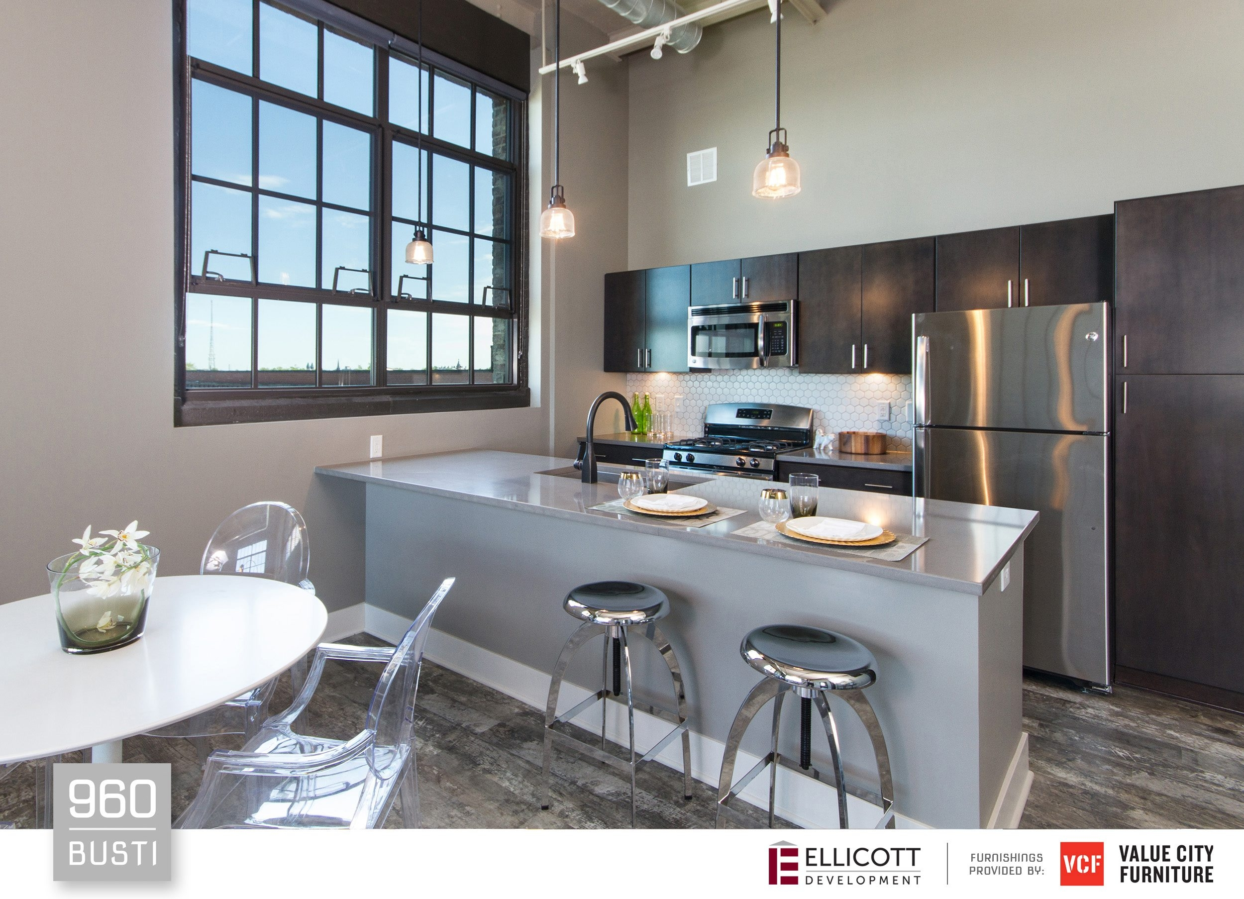 A kitchen in one of the 18 new upscale apartments at 960 Busti Ave.