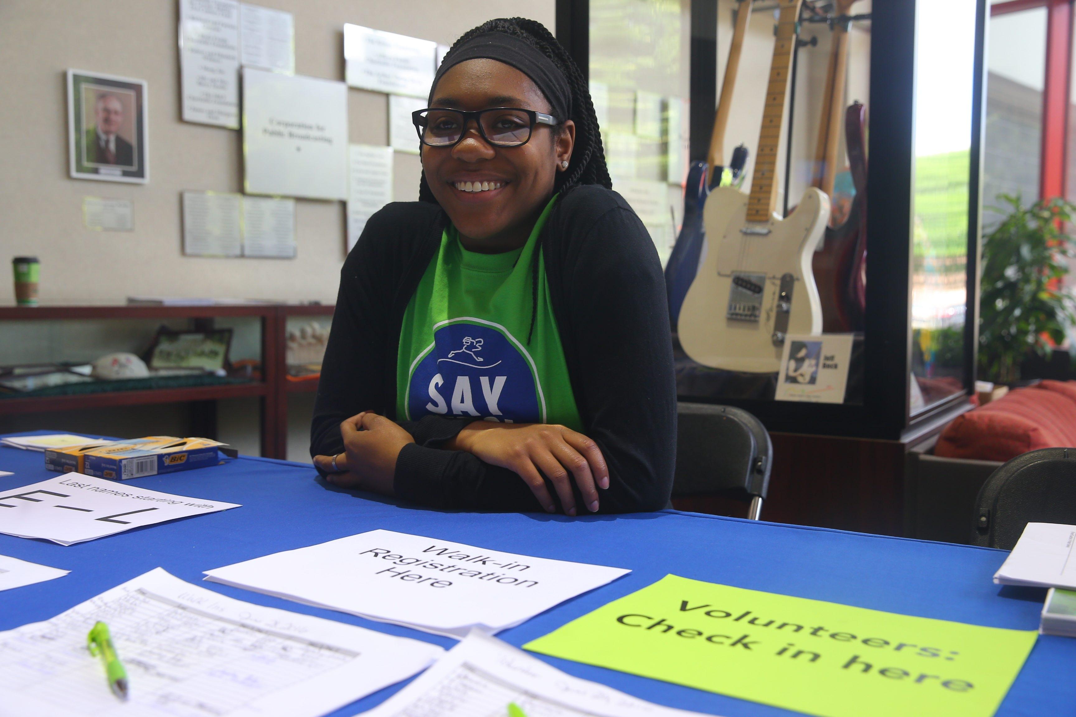 "Sade Hellams, a City Honors grad attending SUNY Fredonia, tells her Say Yes peers 'It's OK to get tutoring."" (John Hickey/Buffalo News)"