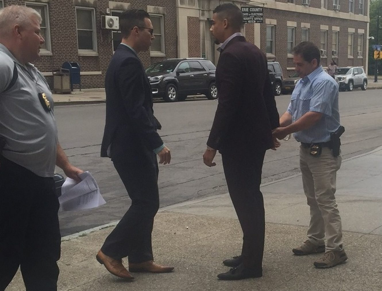 Sabres forward Evander Kane turned himself in to Buffalo police Friday and was charged with misdemeanor criminal trespass, non-criminal disorderly conduct and four counts of non-criminal harassment. (Jane Kwiatkowski Radlich/Buffalo News)