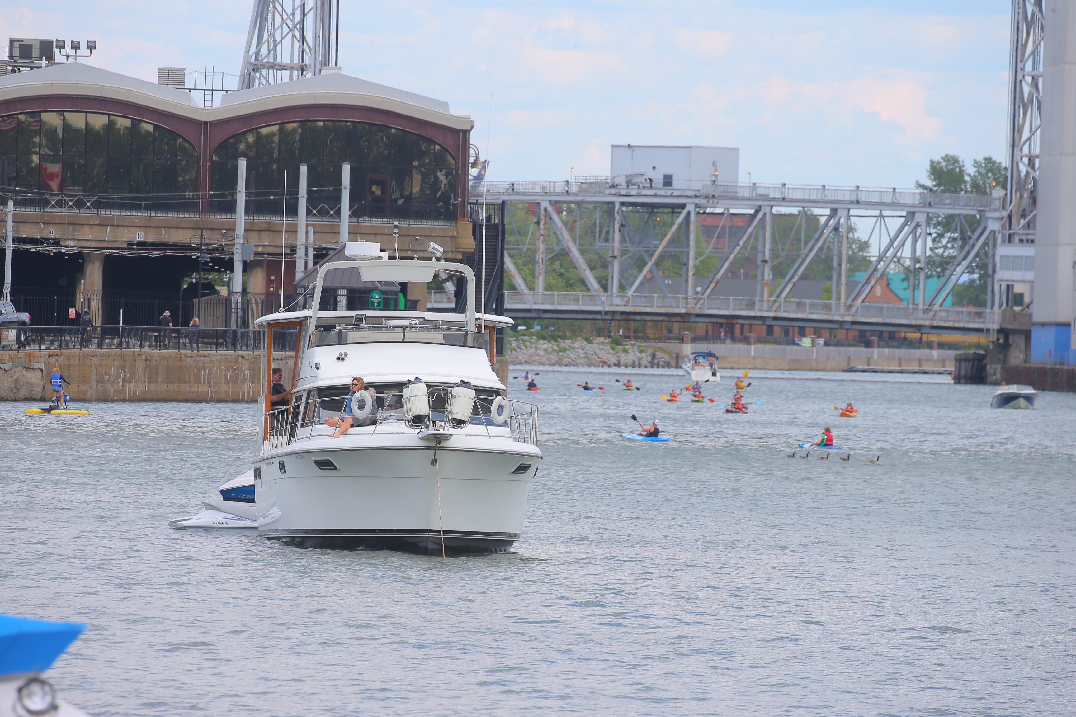 Congested water front with Kayaks, motorboats and pedal floats on the Buffalo River in Buffalo, N.Y.,  Saturday.