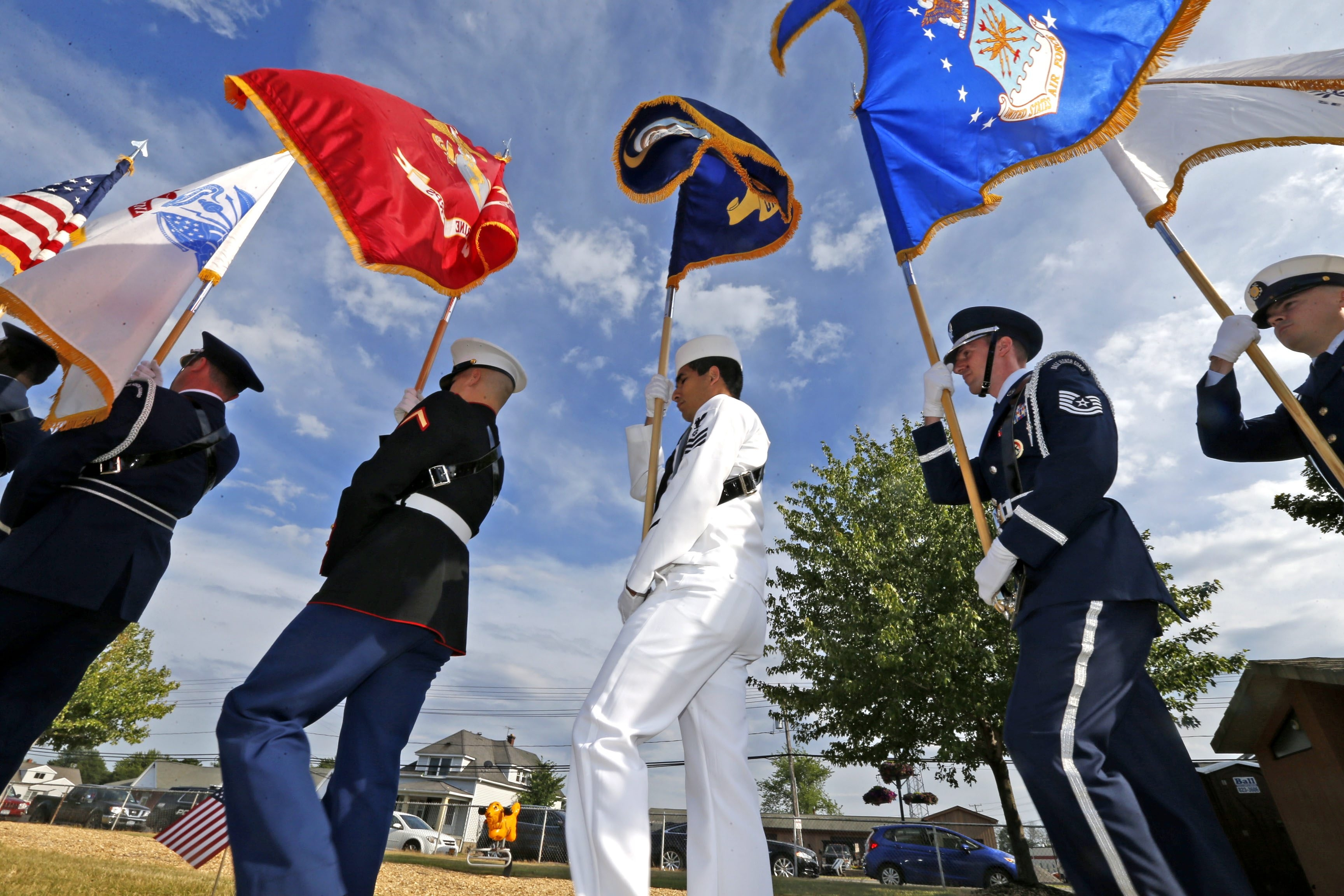 The honor guard representing the branches of the military bring in the colors. The Town of Tonawanda honored the resident veterans of the Town and the Village of Kenmore at a special ceremony at Kenney Field.