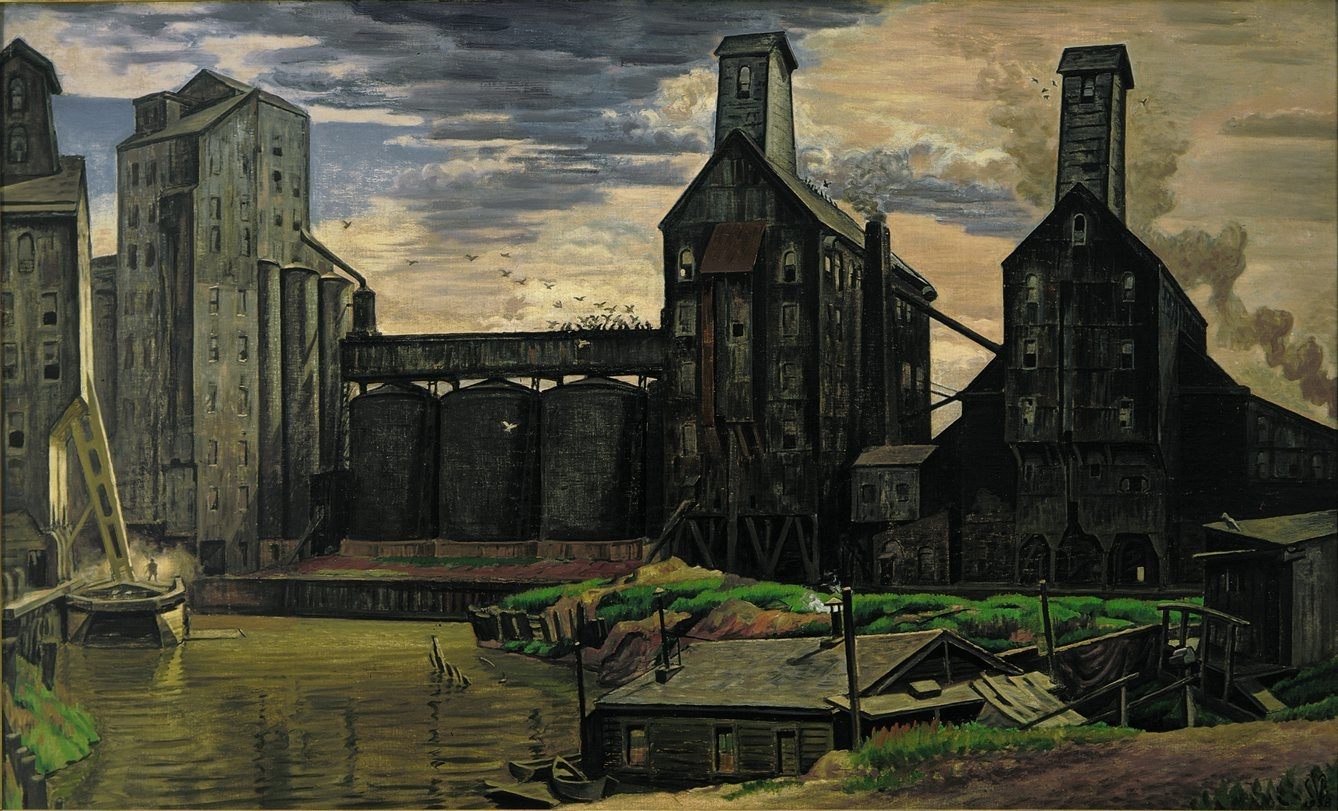 """Grain Elevators,"" a 1931 to 1938 painting by Charles E. Burchfield, is on view in the Burchfield Penney Art Center's exhibition ""Blistering Vision."""