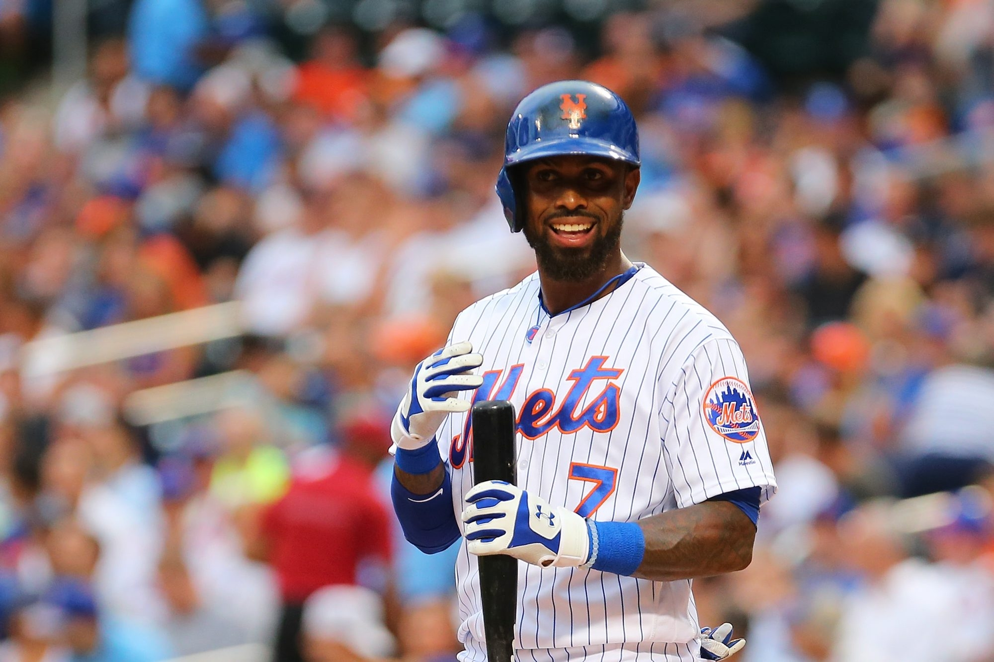 NEW YORK, NEW YORK - JULY 07:  Jose Reyes #7 of the New York Mets looks on priro to his at bat against the Washington Nationals in the first inning at Citi Field on July 7, 2016 in the Flushing neighborhood of the Queens borough of New York City.  (Photo by Mike Stobe/Getty Images)