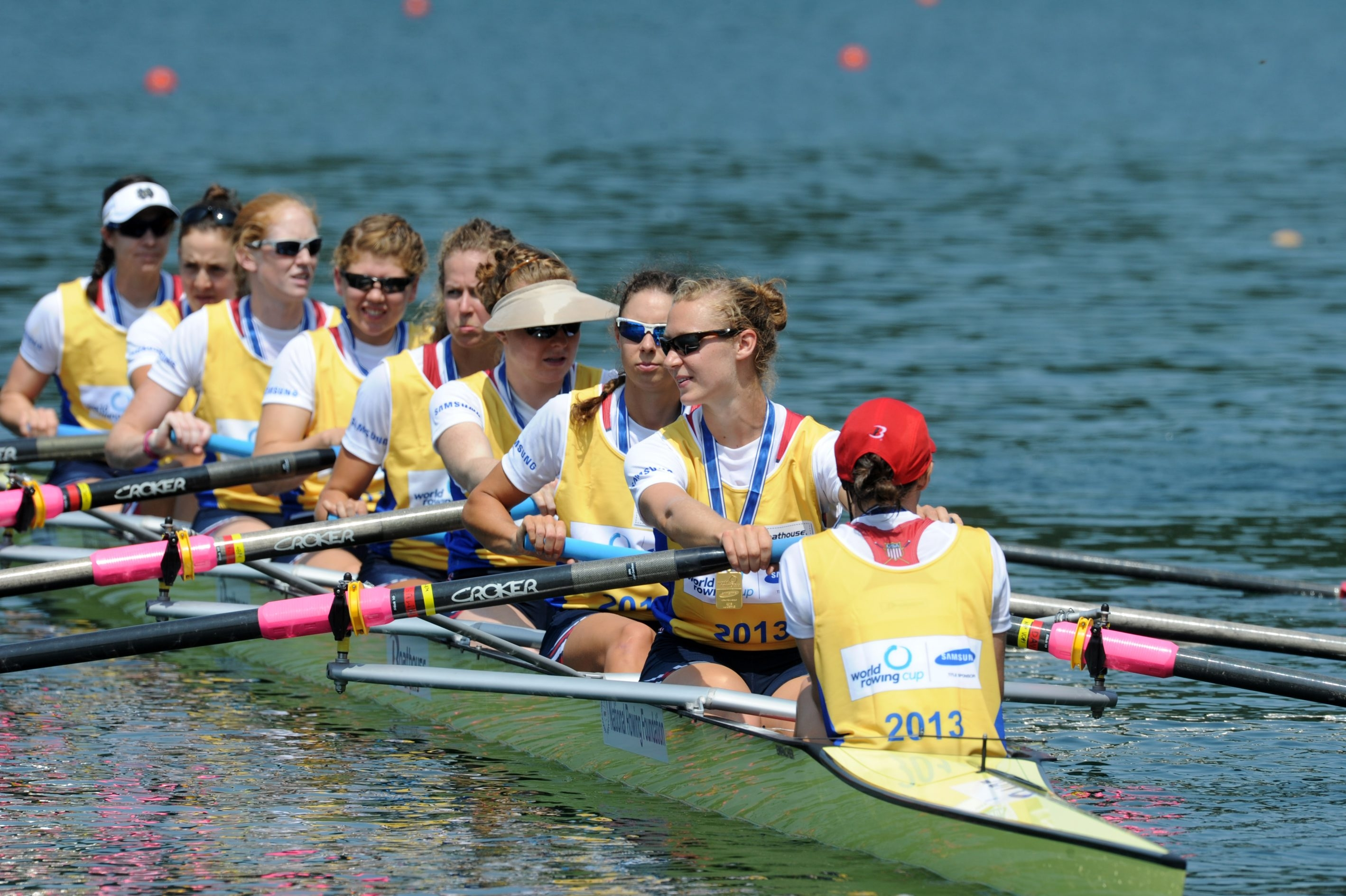 Emily Regan of Buffalo, third from the left, rowed on this U.S. eight that won the World Championship in 2013.