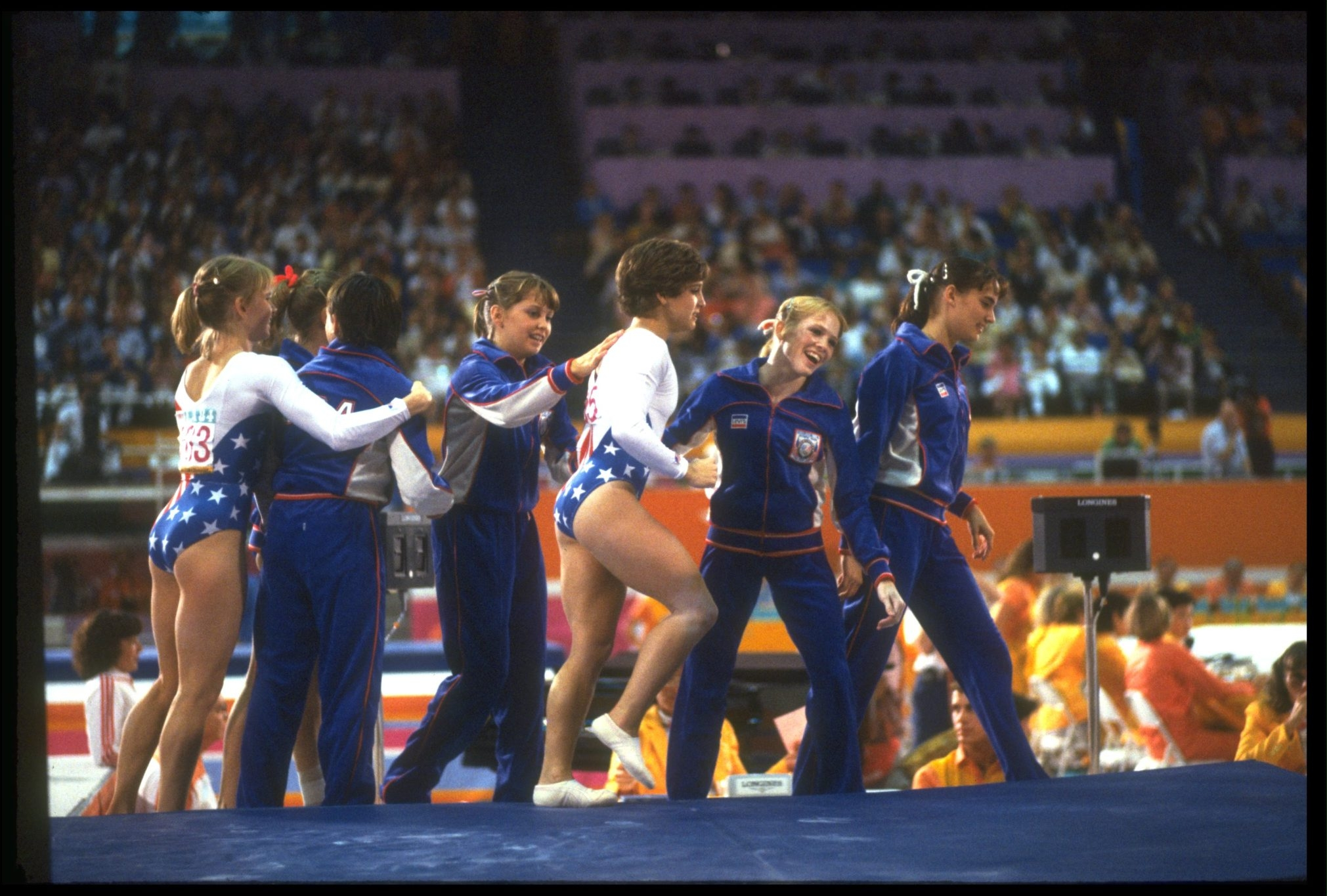 Mary Lou Retton (center in white) made her mark during the 1984 Summer Olympics in Los Angeles.