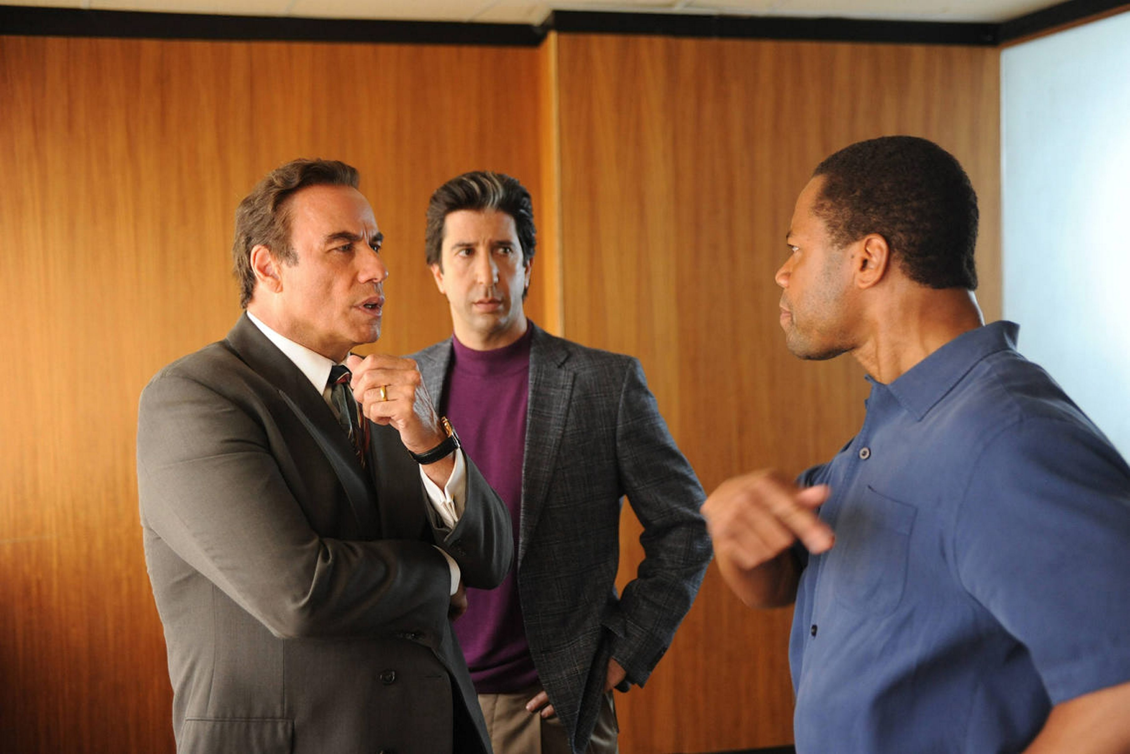 """The People v. O.J. Simpson: American Crime Story,"" starring, from left, John Travolta, David Schwimmer and Cuba Gooding Jr., is nomiated for Program of the Year by the Television Critics Association."