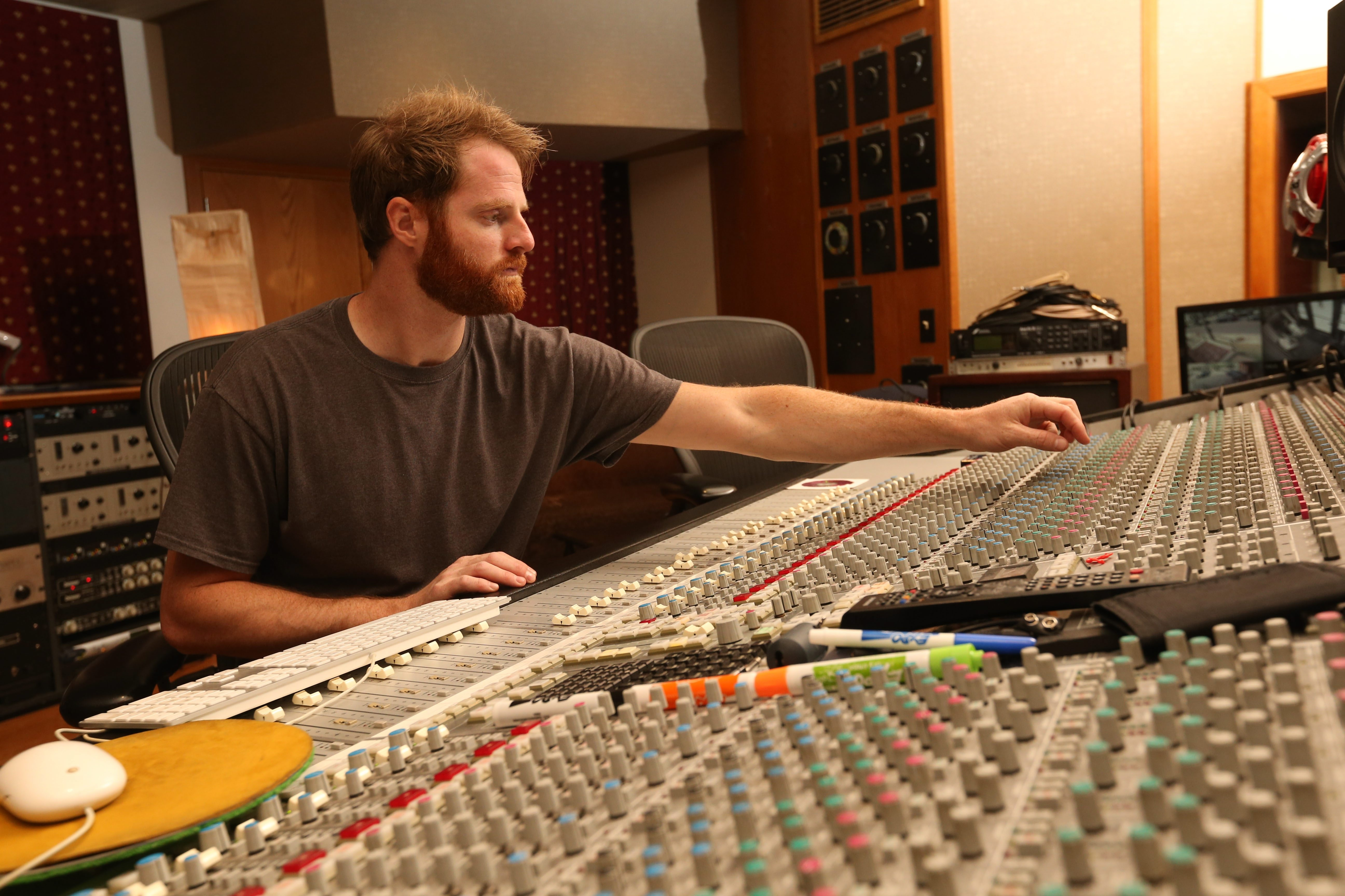 Audio Engineer Justin Rose works in the control room, Tuesday, June 28, 2016.  (Sharon Cantillon/Buffalo News)